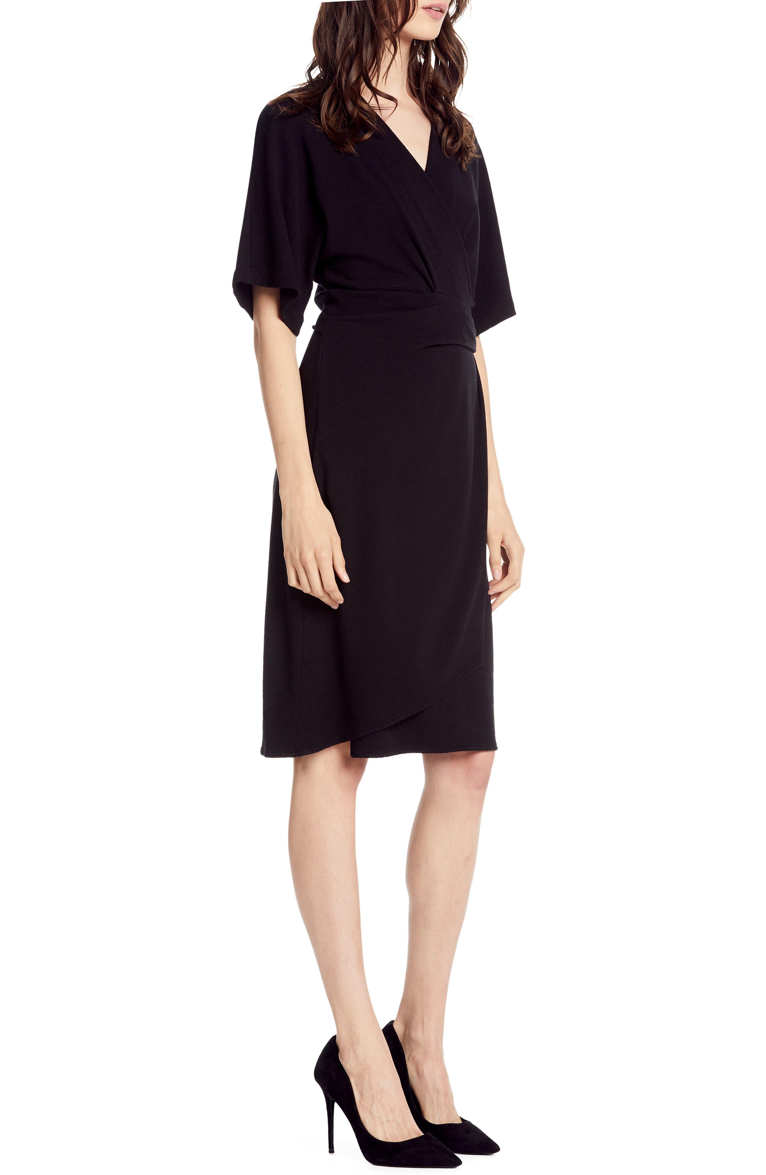 MICHAEL STARS,                             Pebble Knit Pleat Wrap Dress,                             Alternate thumbnail 3, color,                             BLACK
