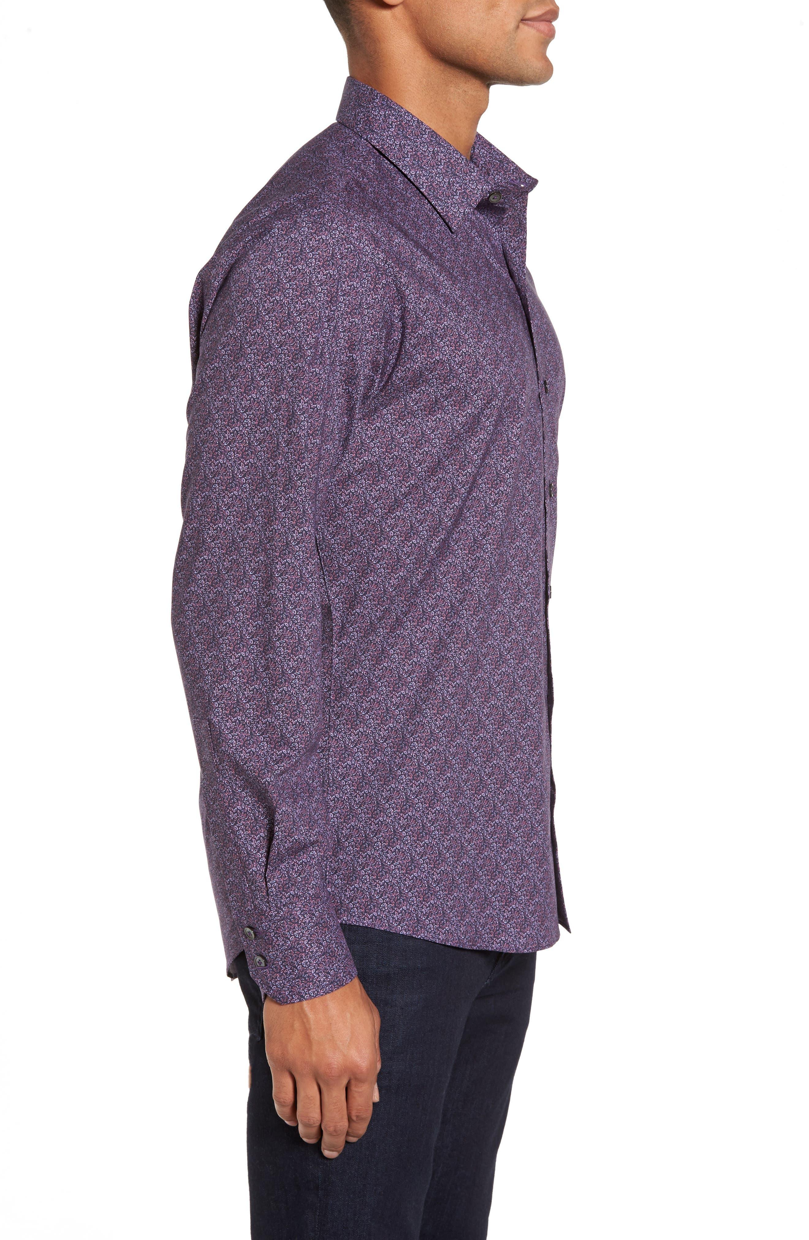 Cristobal Slim Fit Print Sport Shirt,                             Alternate thumbnail 3, color,                             500