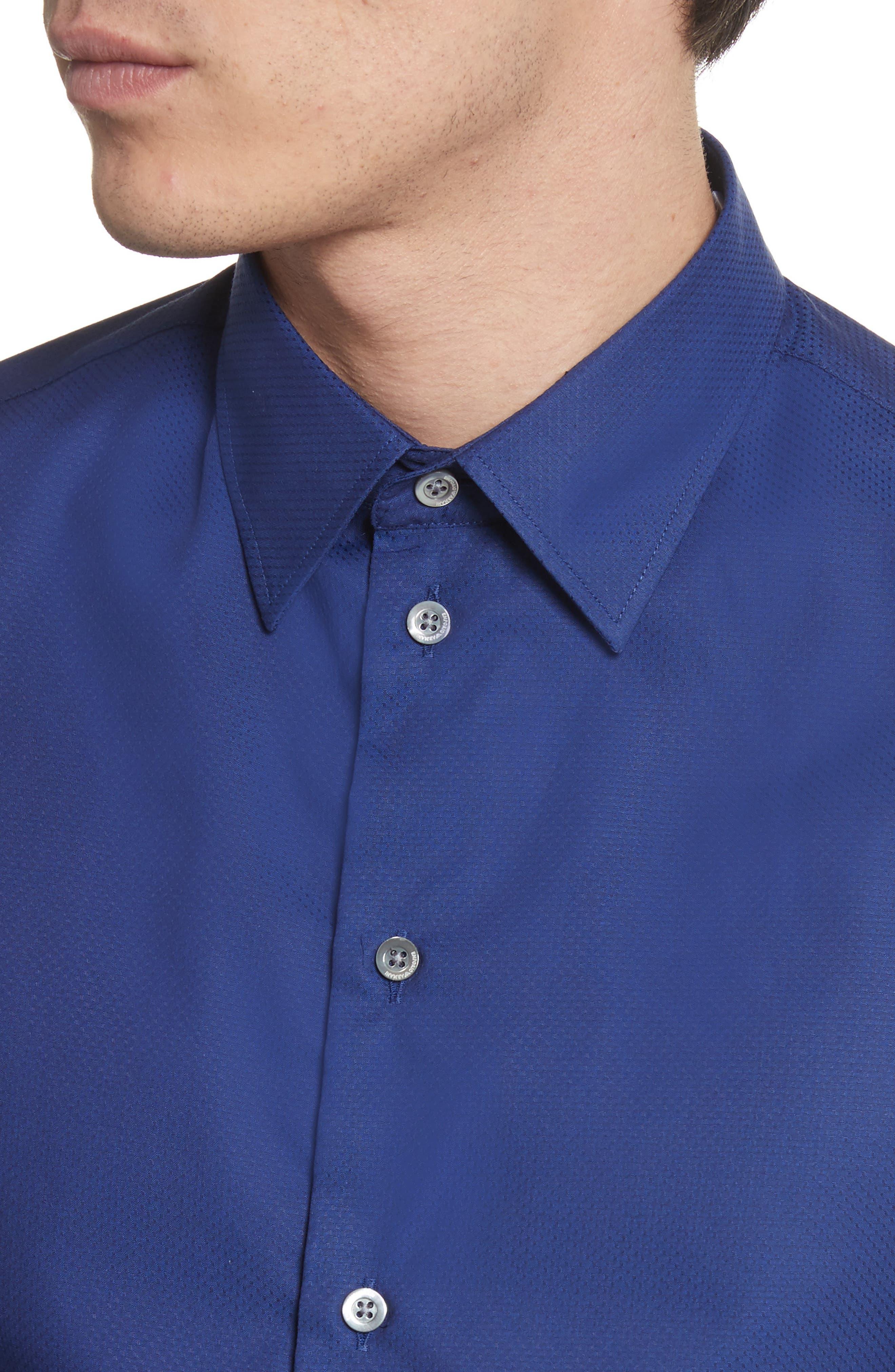 Textured Dot Print Sport Shirt,                             Alternate thumbnail 5, color,                             405
