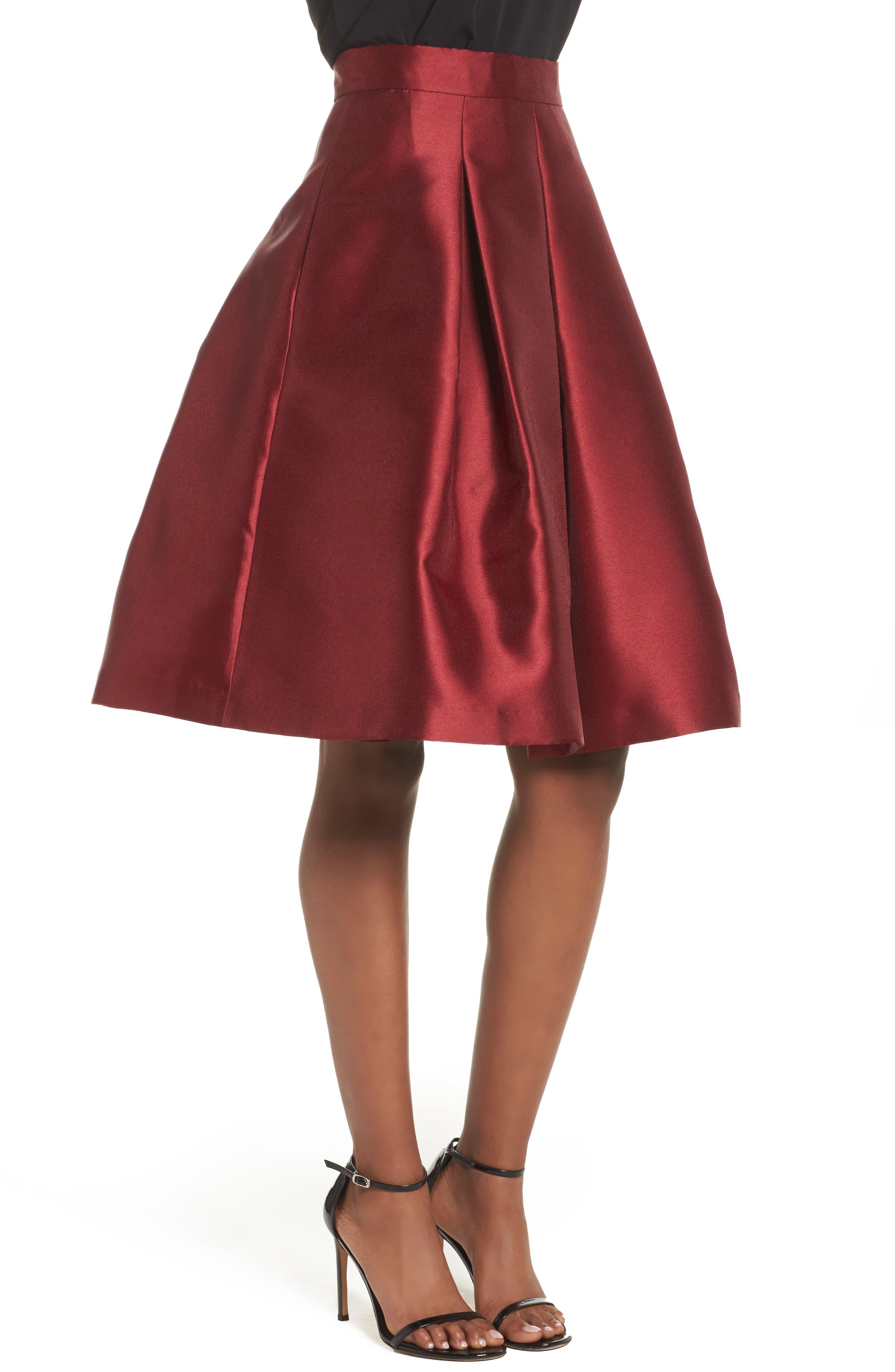Pleated Mikado Skirt,                             Alternate thumbnail 3, color,                             610