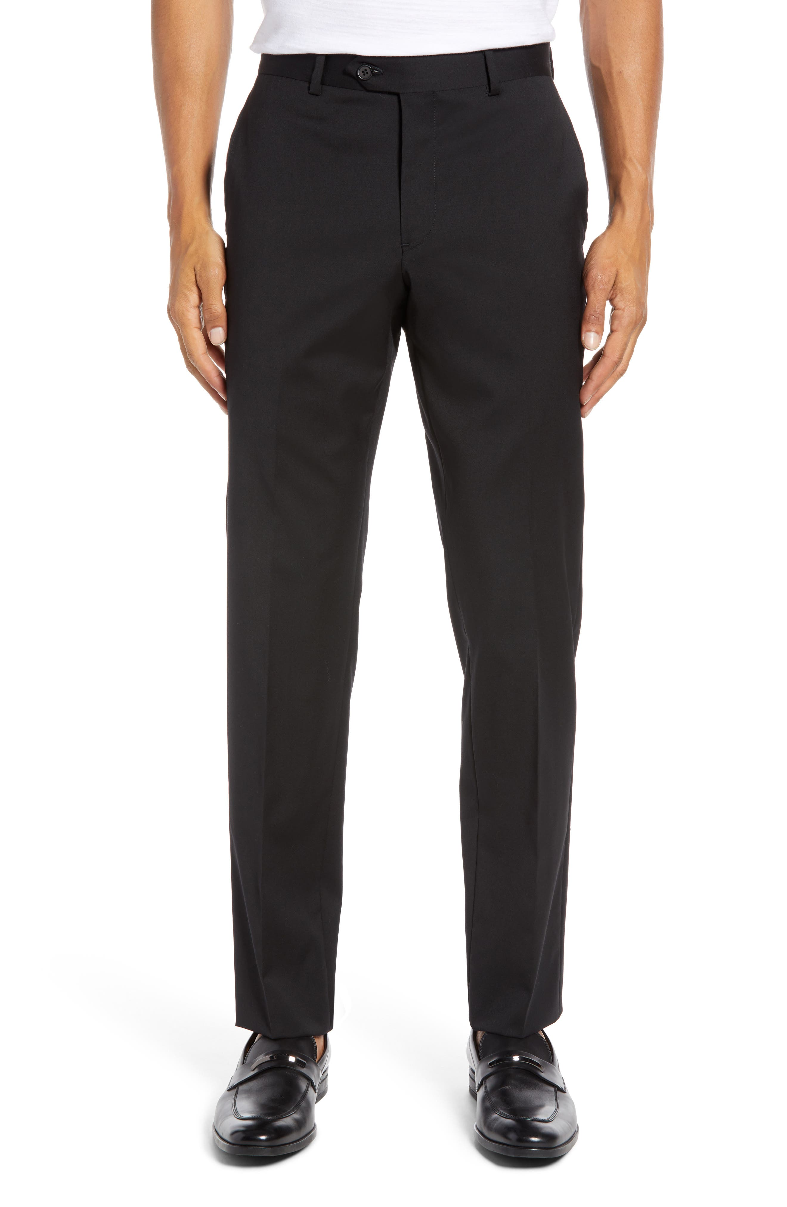 Trim Fit Stretch Wool Trousers,                         Main,                         color, BLACK