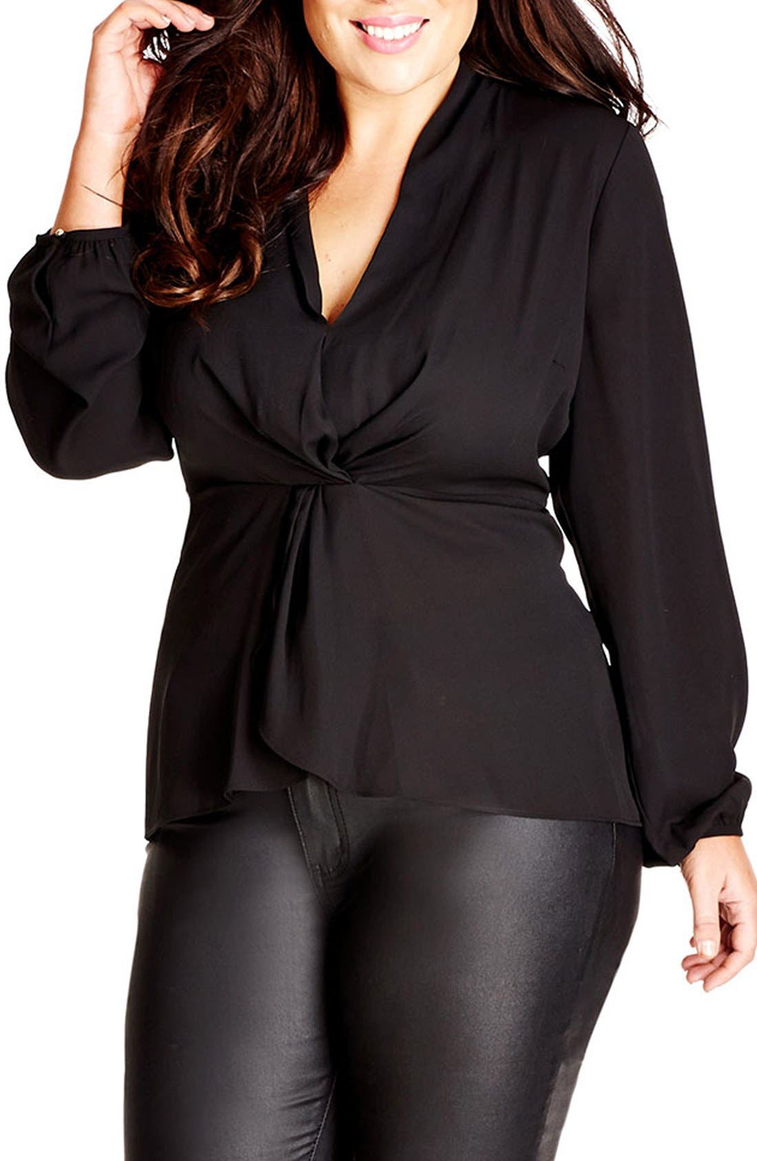 Knot Front Top,                         Main,                         color, BLACK