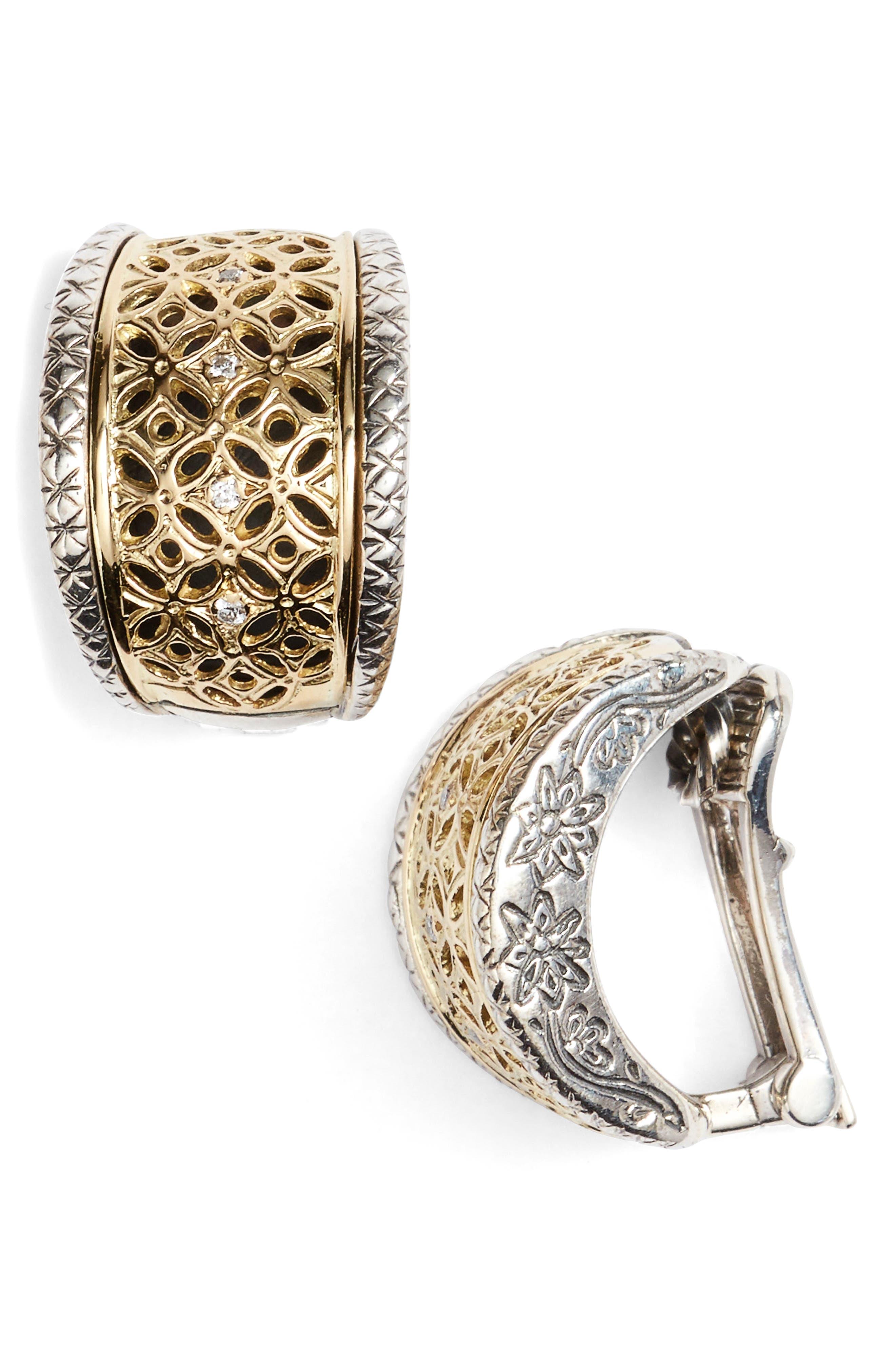 Selene Diamond Clip Hoop Earrings,                             Main thumbnail 1, color,                             SILVER/ GOLD