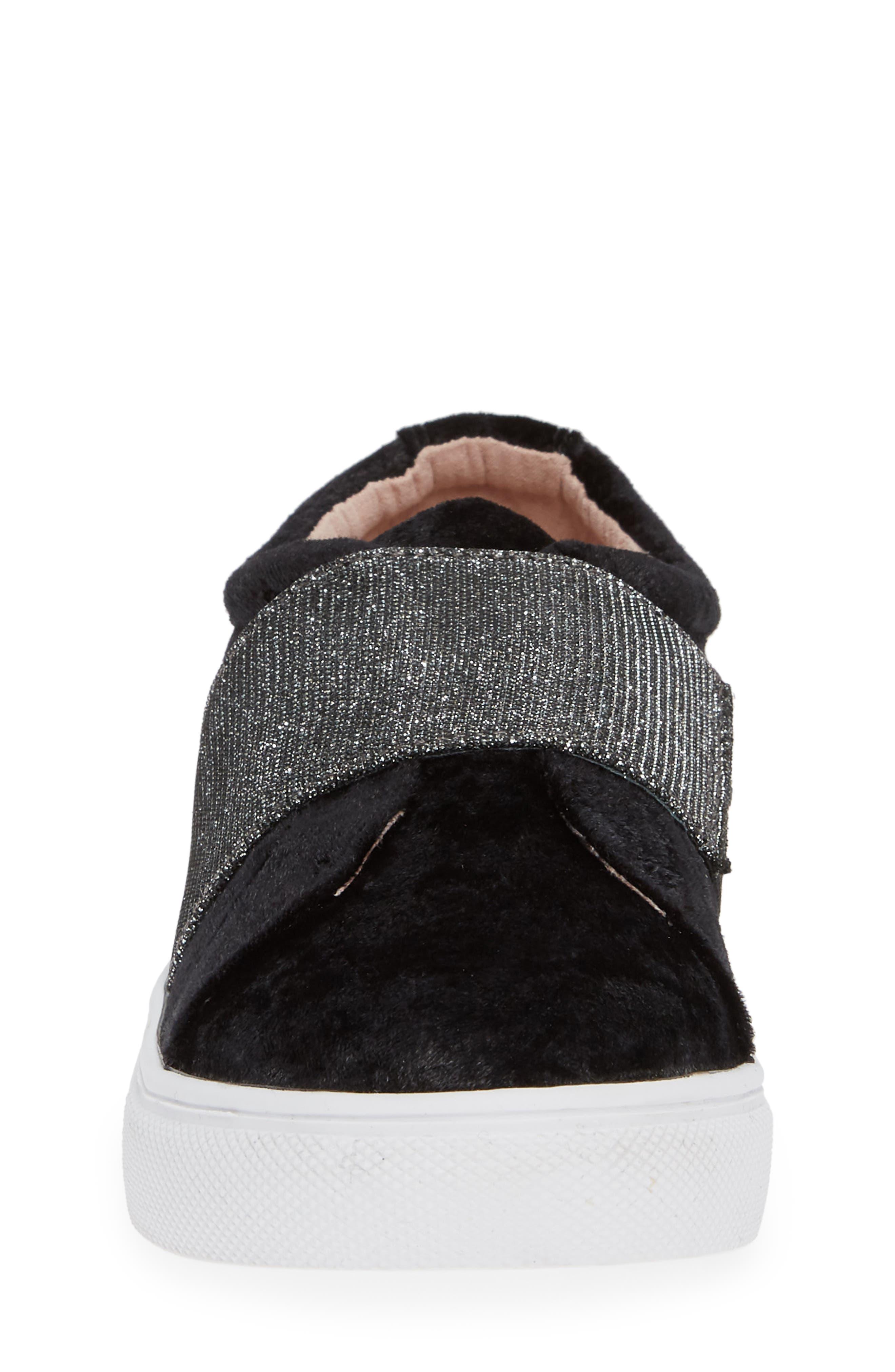Sparkle Slip-On Sneaker,                             Alternate thumbnail 4, color,                             BLACK CRUSHED VELVET