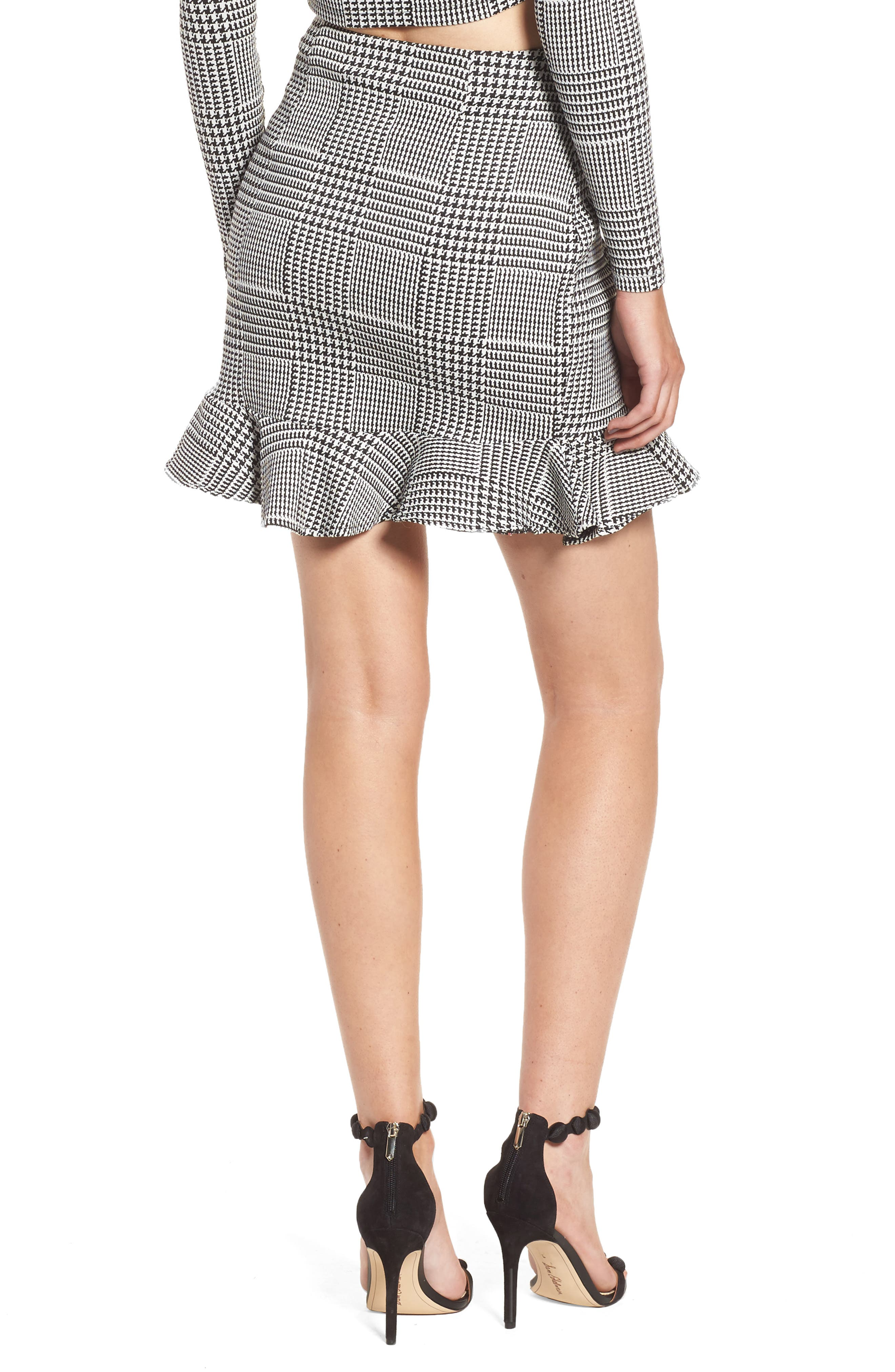 Affection Ruffle Houndstooth Skirt,                             Alternate thumbnail 2, color,                             020