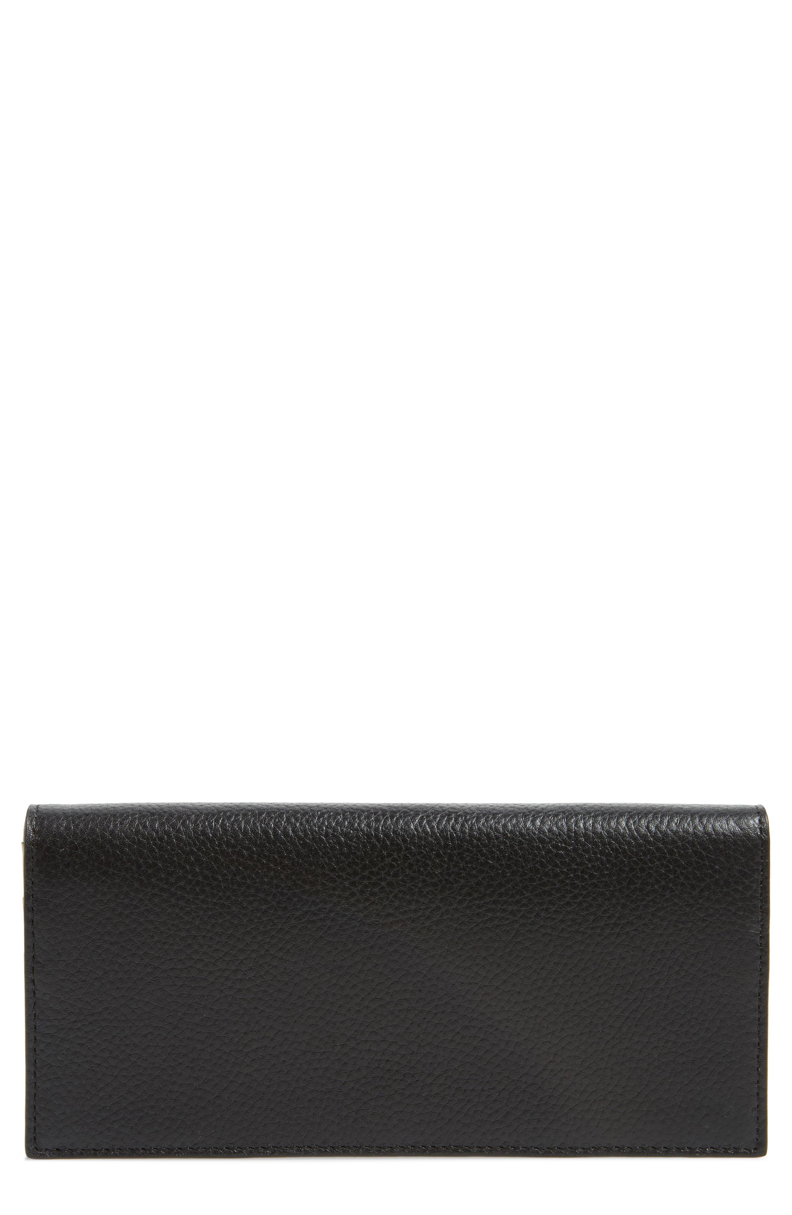 Hunter Leather Continental Wallet,                             Main thumbnail 1, color,                             BLACK