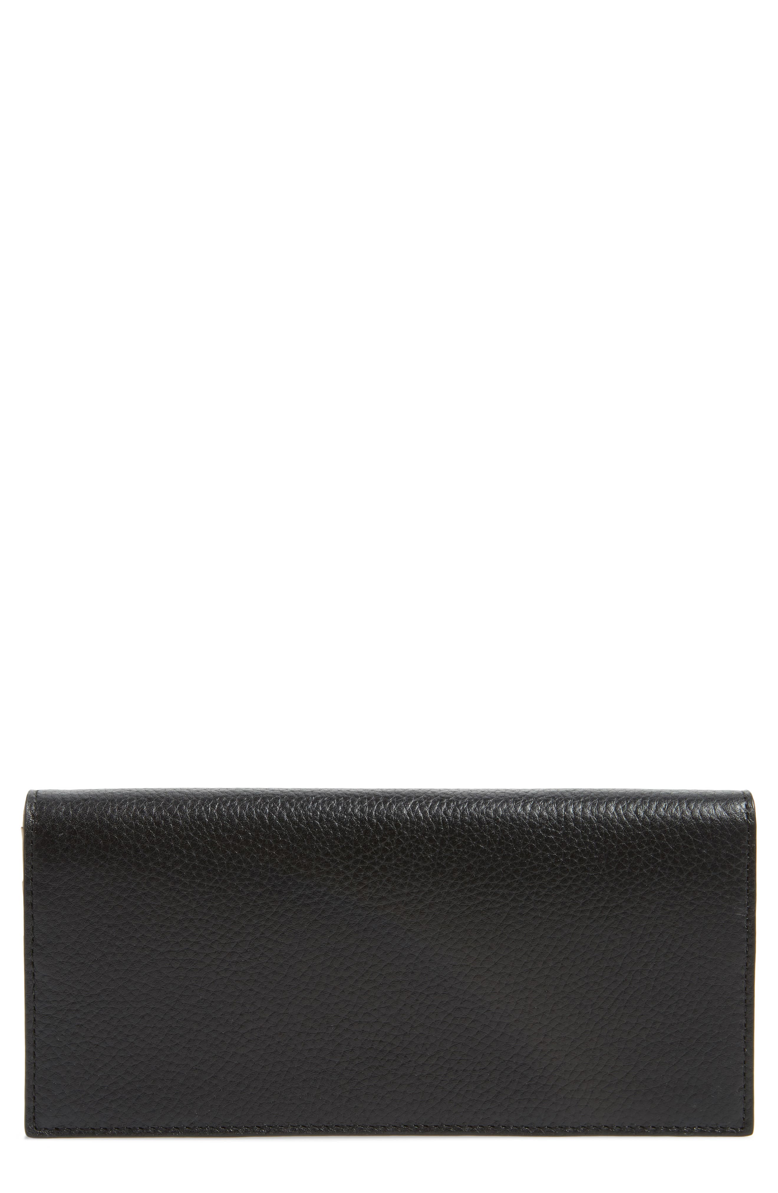 Hunter Leather Continental Wallet,                         Main,                         color, BLACK