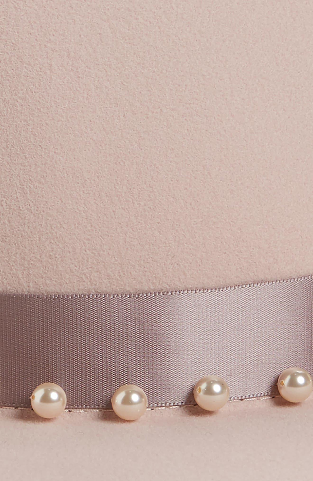 Blaine Imitation Pearl Wool Fedora,                             Alternate thumbnail 2, color,                             PALE PINK