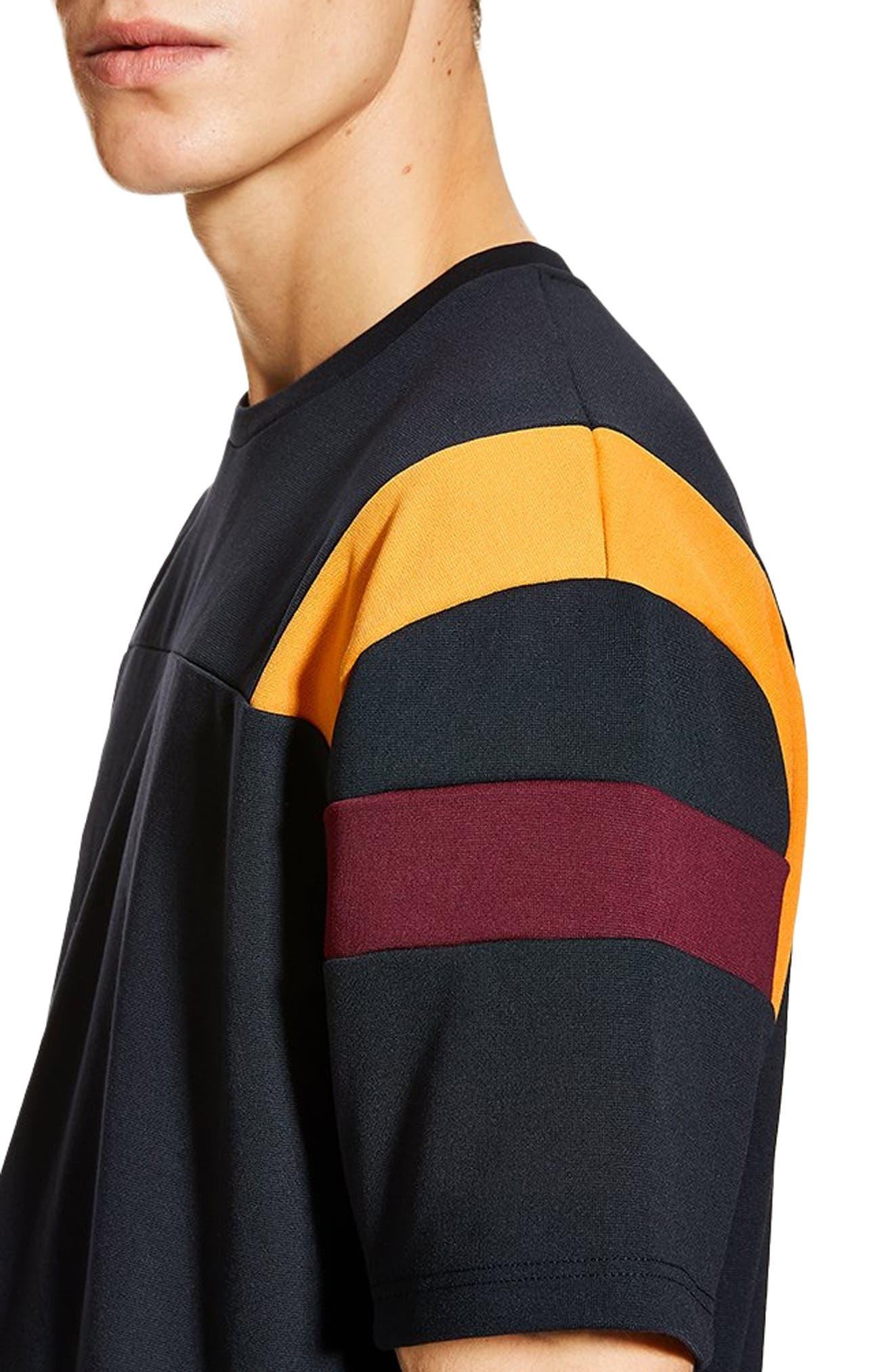 Oversize Panel T-Shirt,                             Alternate thumbnail 3, color,                             NAVY/ BURGUNDY