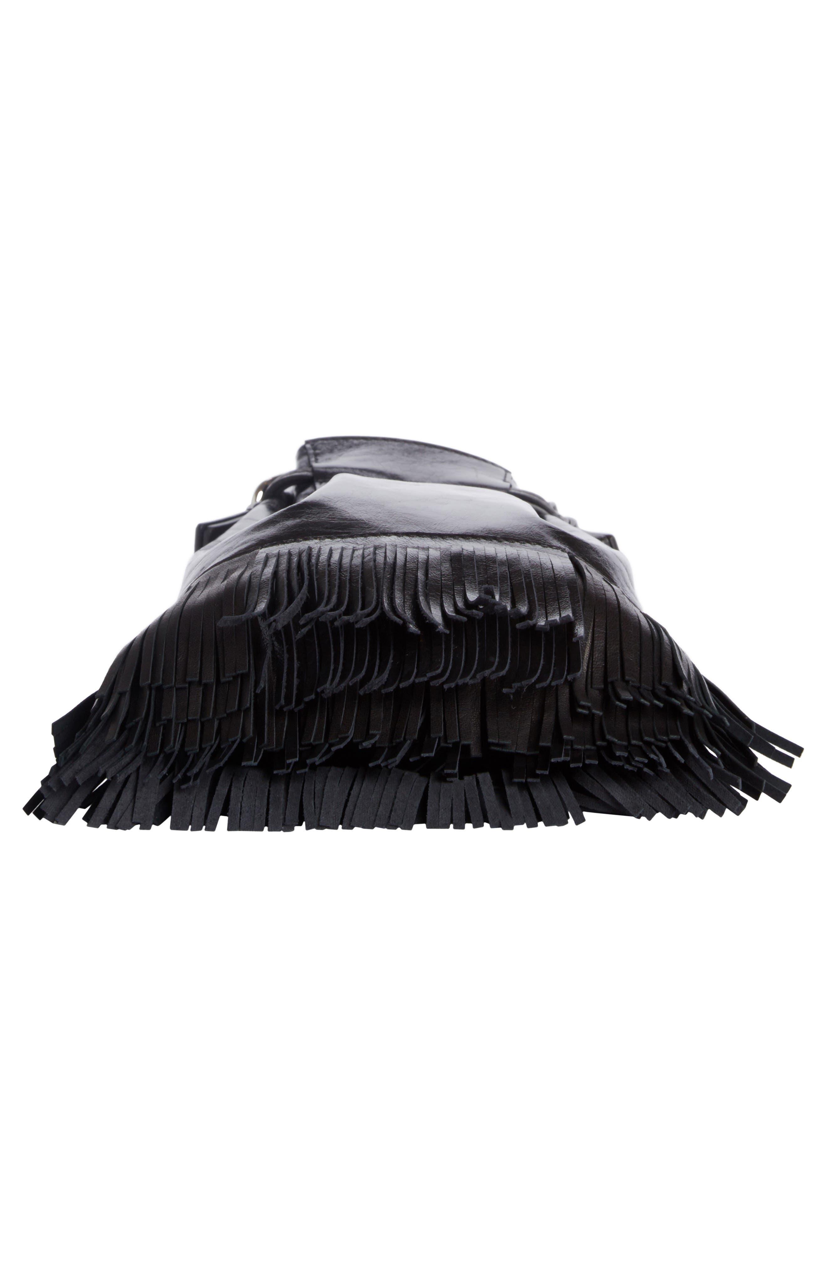Askiah Fringe Leather Crossbody Bag,                             Alternate thumbnail 4, color,