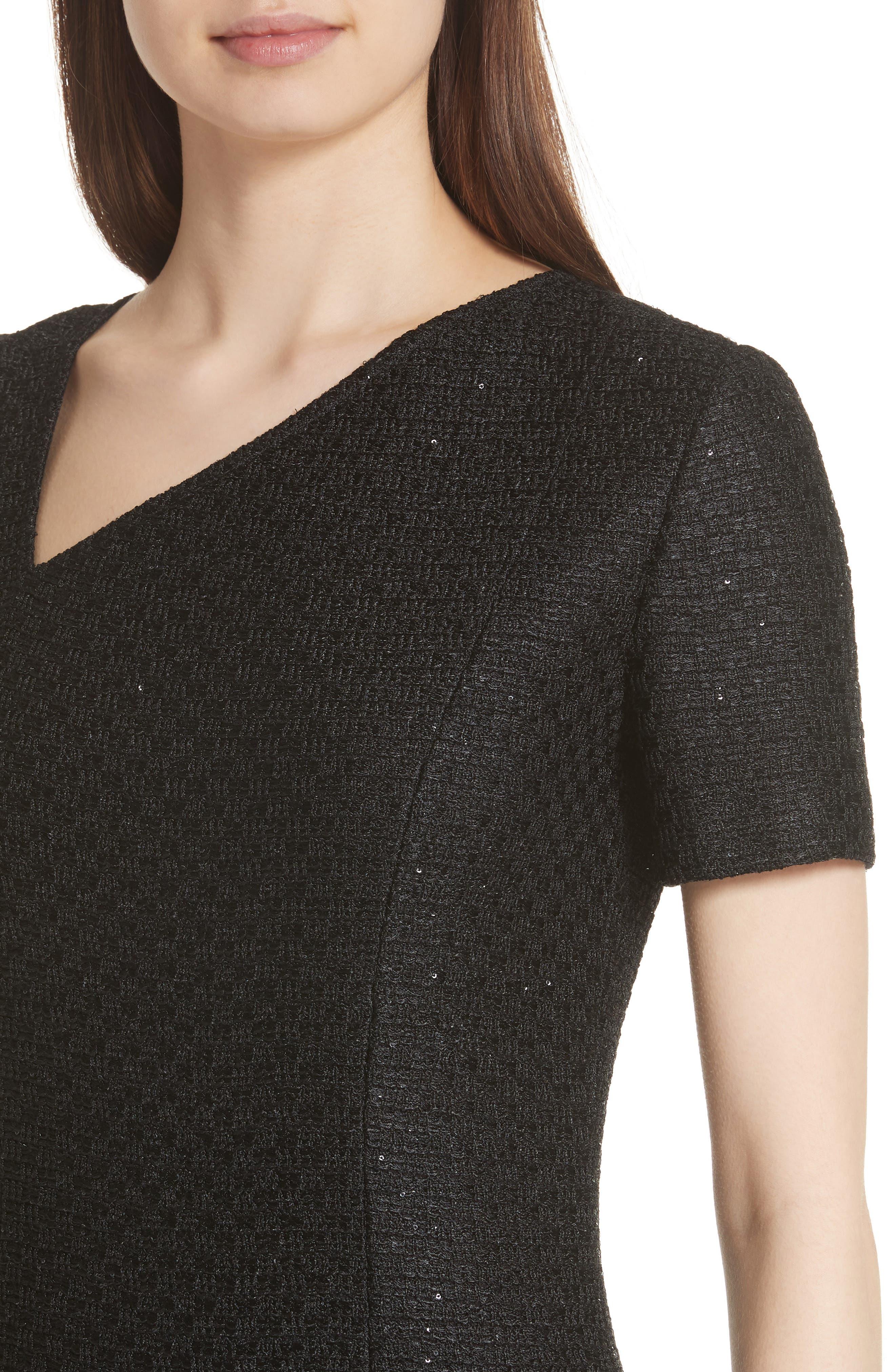 Shimmer Sequin Knit Asymmetrical Dress,                             Alternate thumbnail 4, color,                             CAVIAR