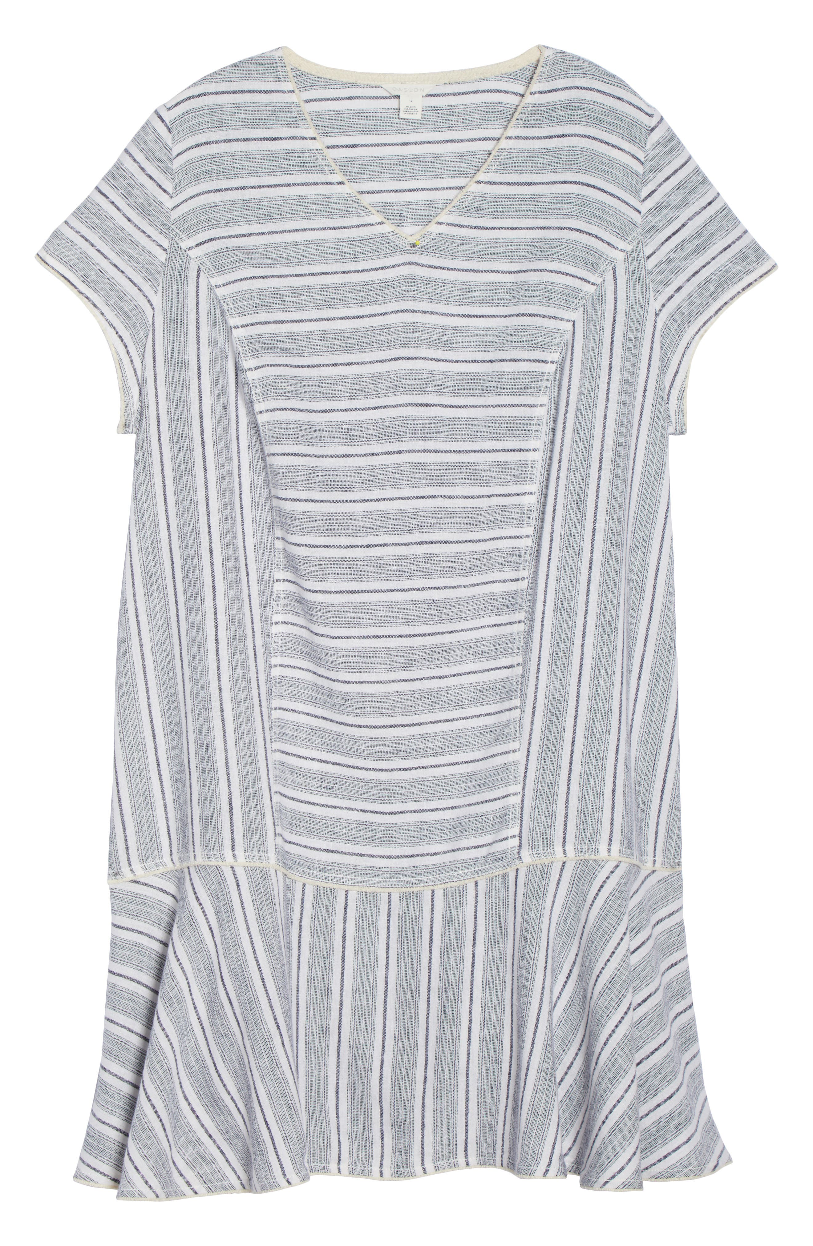 Raw Edge Stripe Linen Blend Dress,                             Alternate thumbnail 6, color,                             900