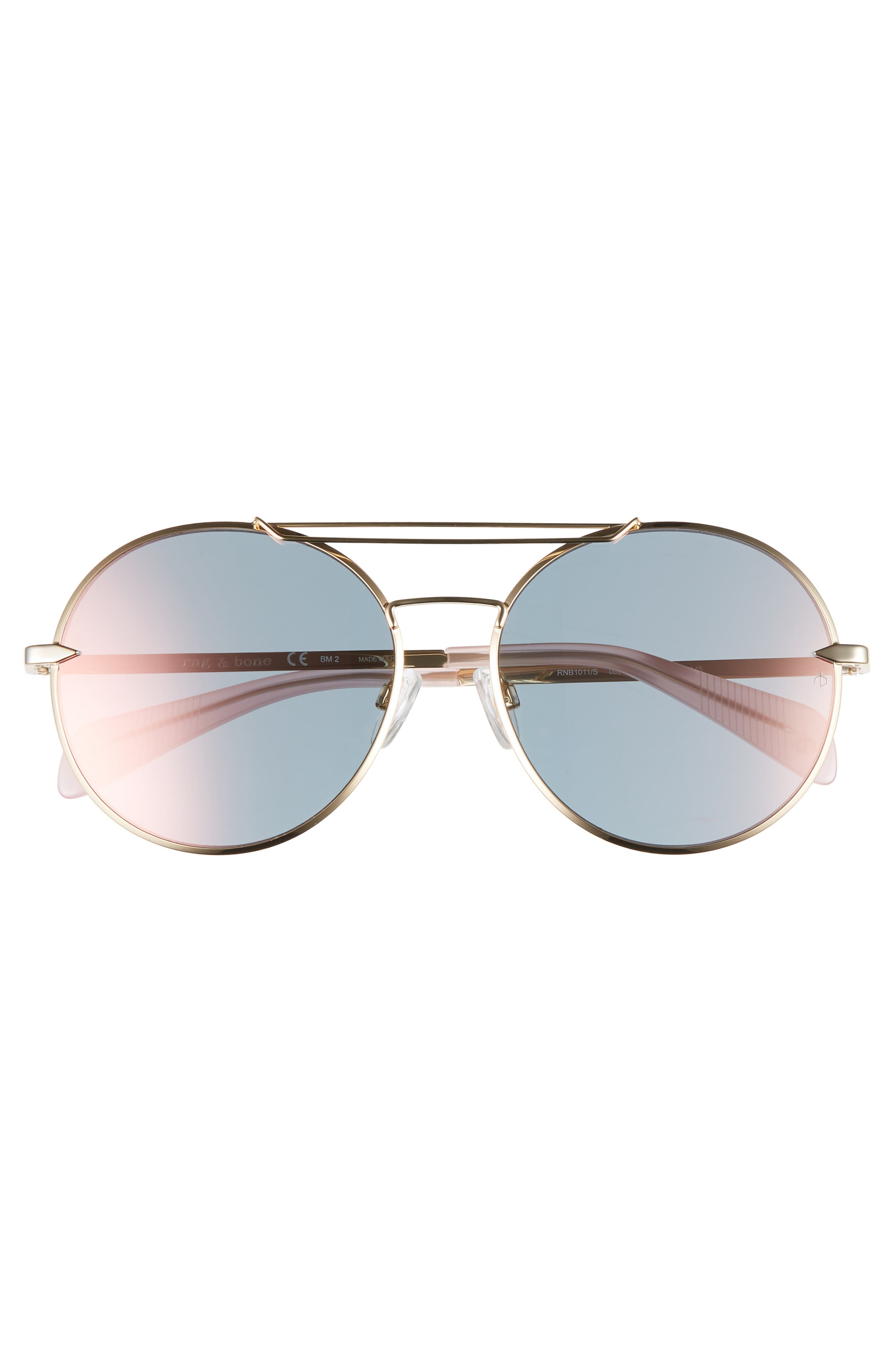 59mm Round Metal Aviator Sunglasses,                             Alternate thumbnail 3, color,                             ROSE GOLD