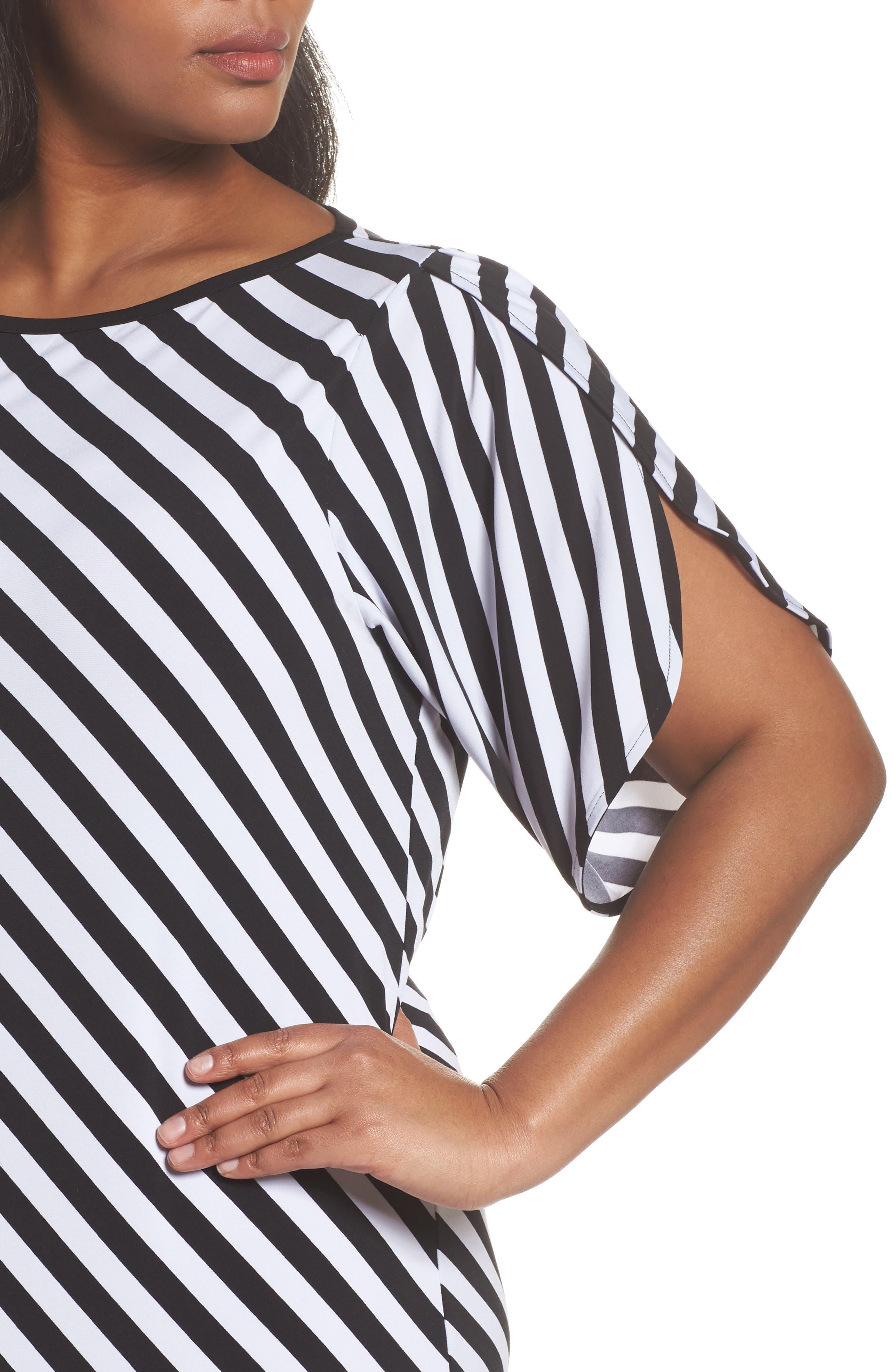 Tulip Sleeve Stripe Dress,                             Alternate thumbnail 4, color,
