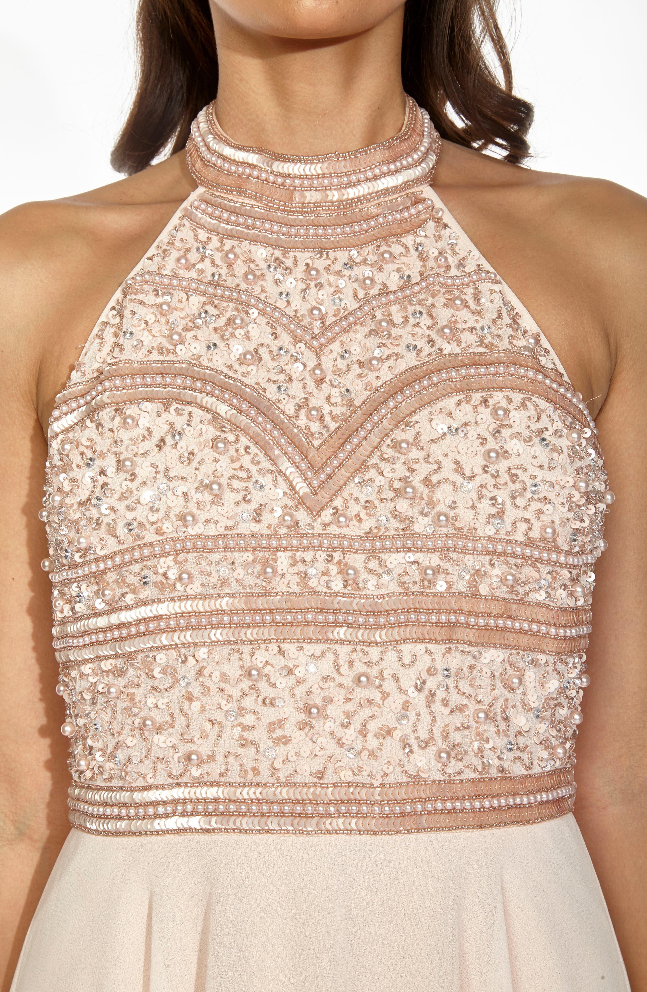 Sunrise Embellished Halter Maxi Dress,                             Alternate thumbnail 4, color,                             250