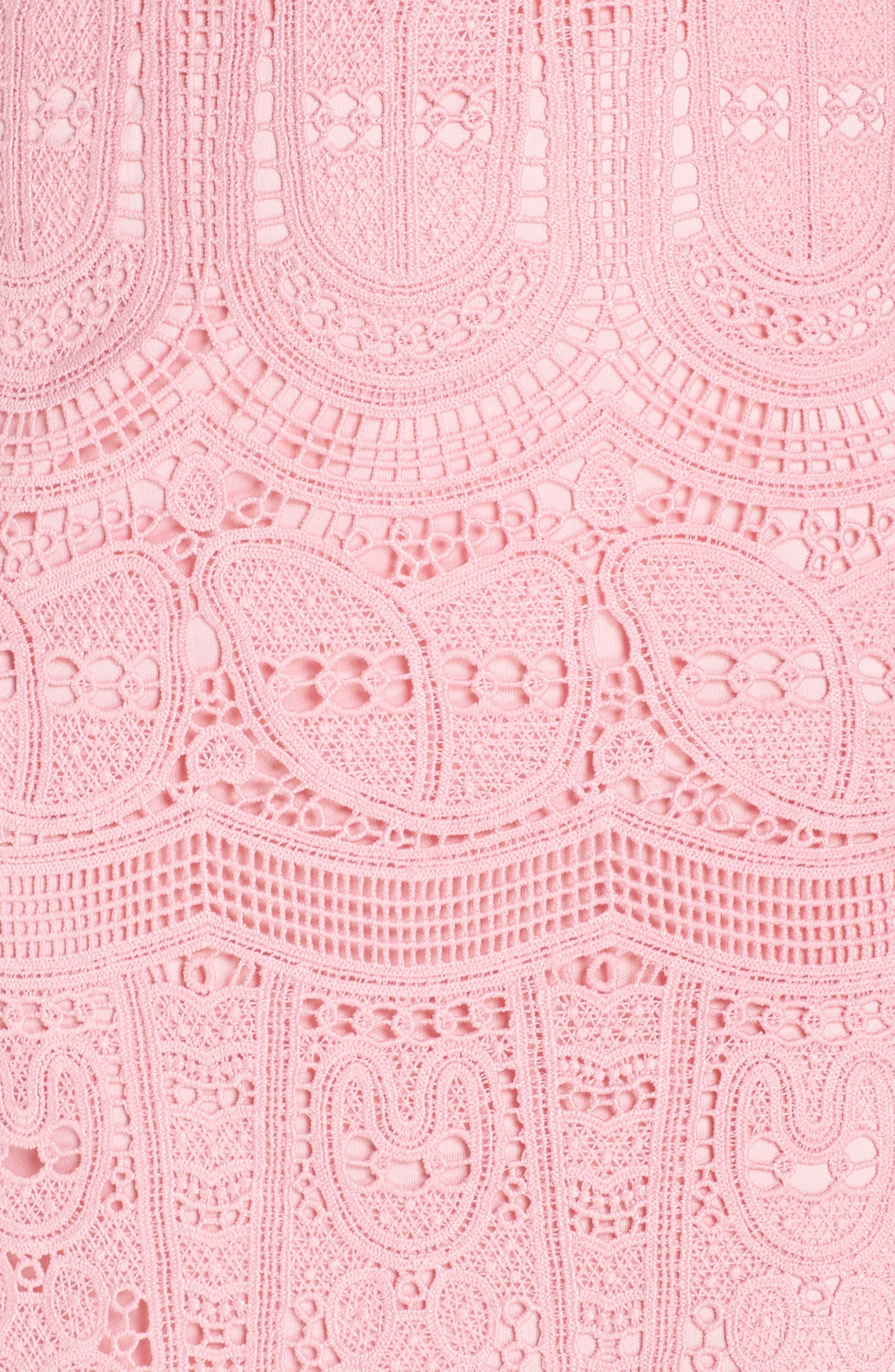 Grace One-Shoulder Lace Sheath Dress,                             Alternate thumbnail 6, color,                             PINK