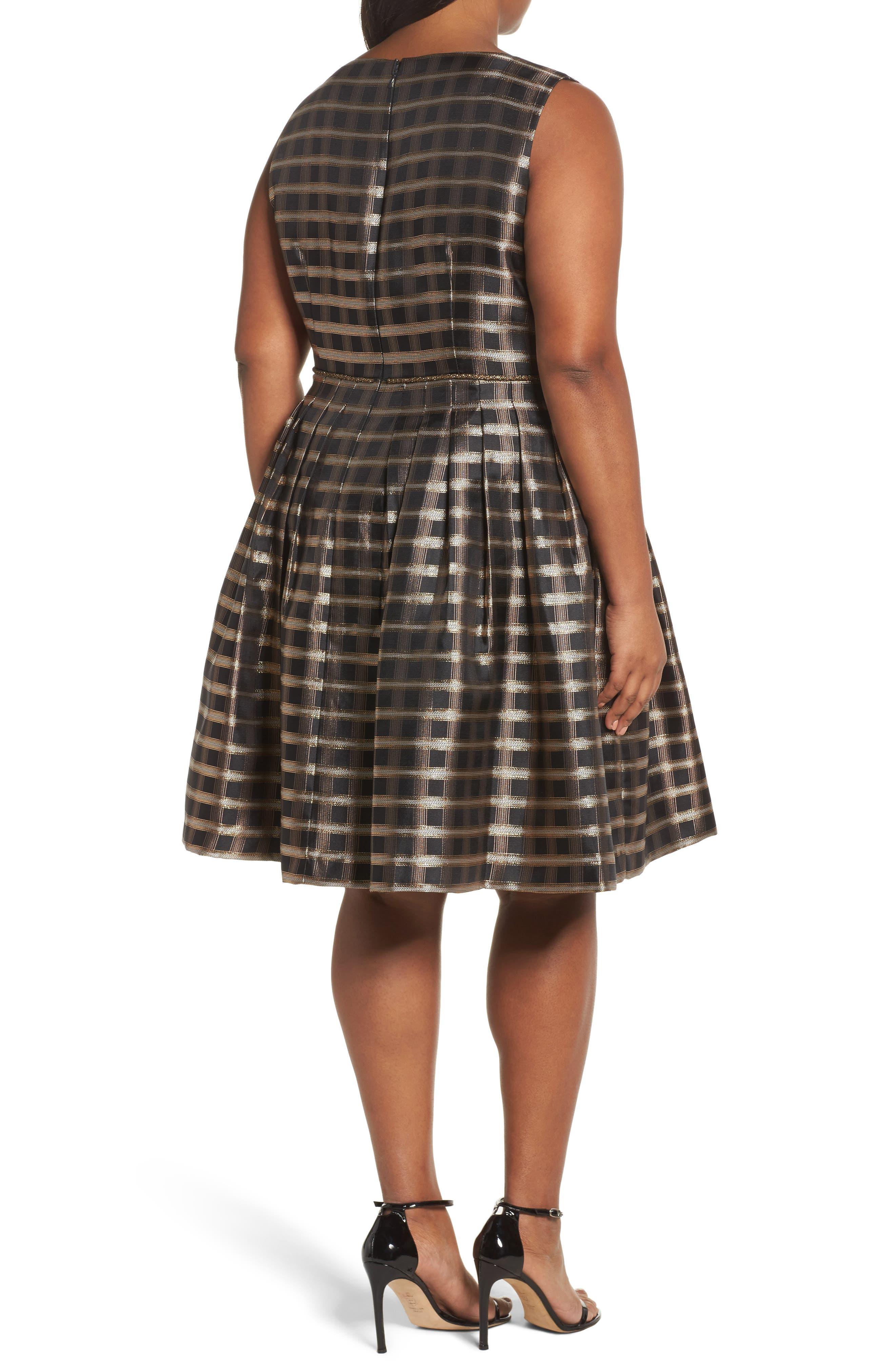 Metallic Jacquard Fit & Flare Dress,                             Alternate thumbnail 2, color,
