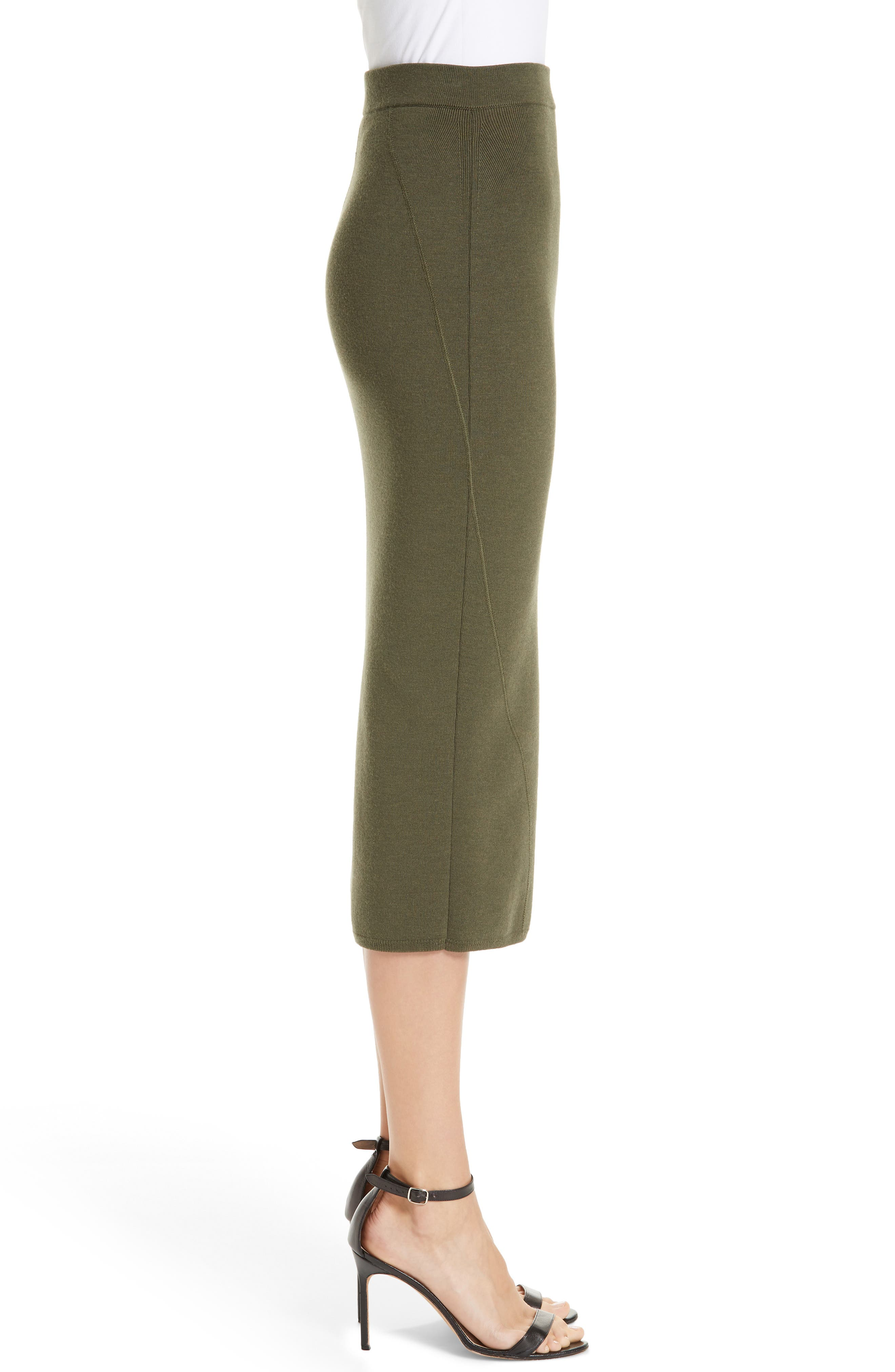 Fitted Knit Skirt,                             Alternate thumbnail 3, color,                             GREEN