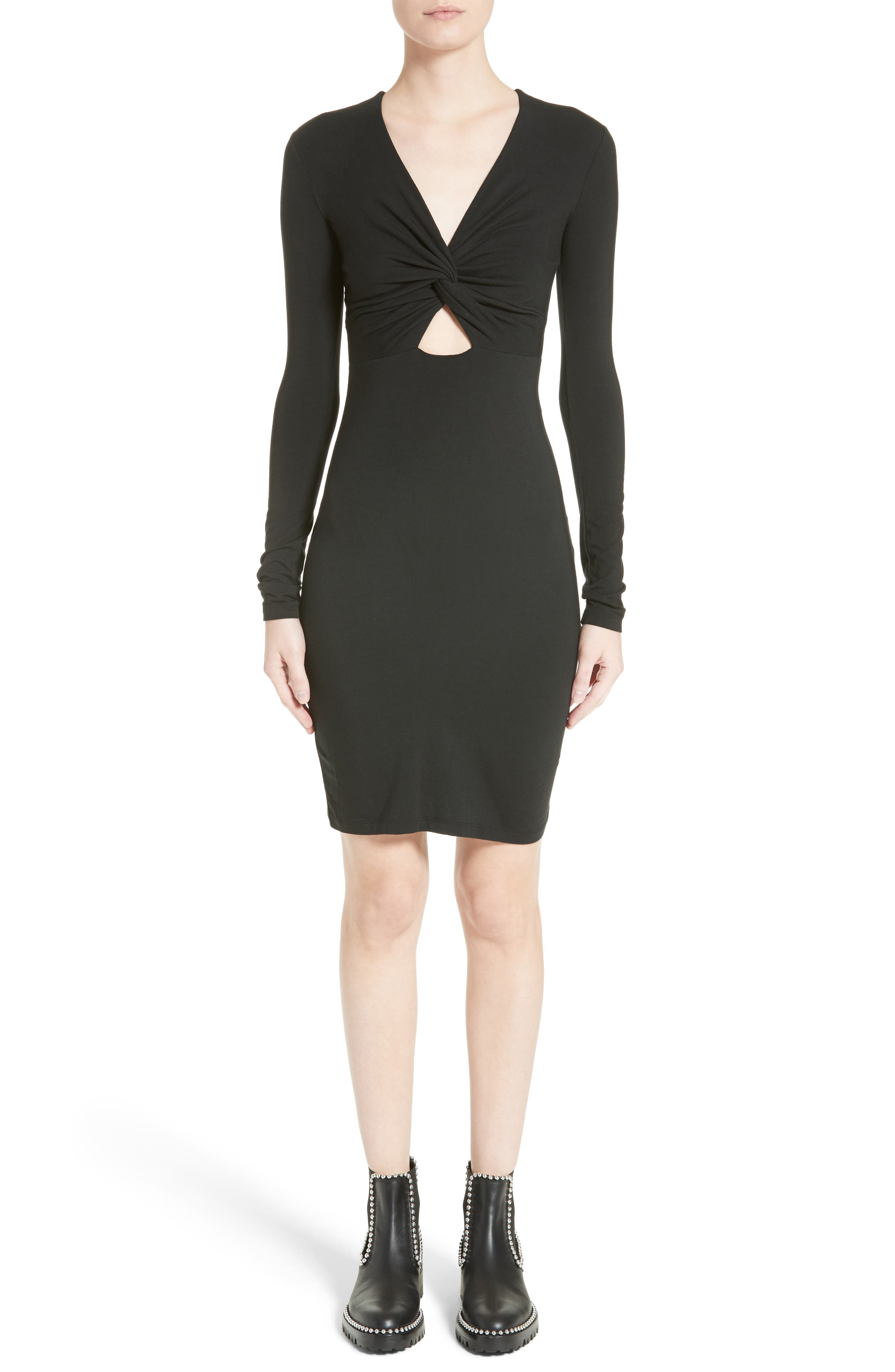 Twist Front Body-Con Dress,                             Main thumbnail 1, color,                             001