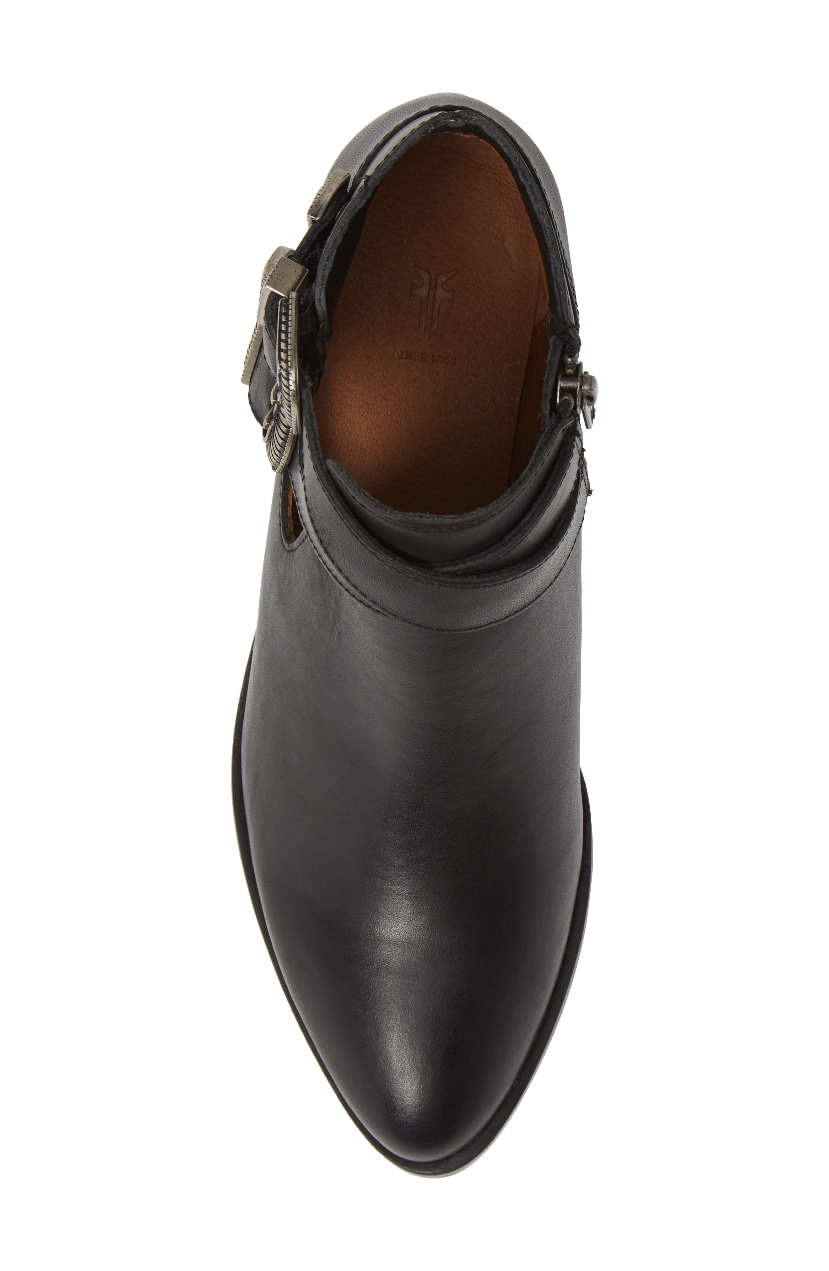 Ray Western Bootie,                             Alternate thumbnail 5, color,                             BLACK LEATHER