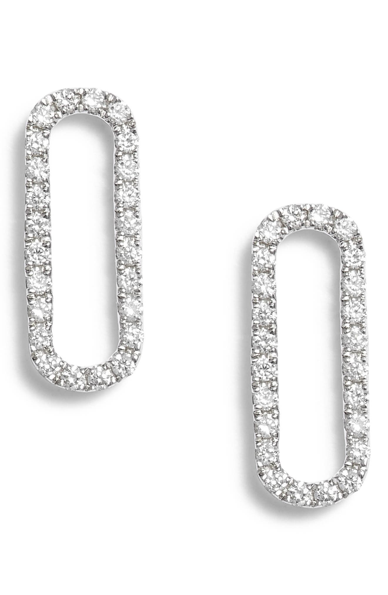 BONY LEVY,                             Rounded Rectangle Diamond Stud Earrings,                             Main thumbnail 1, color,                             711