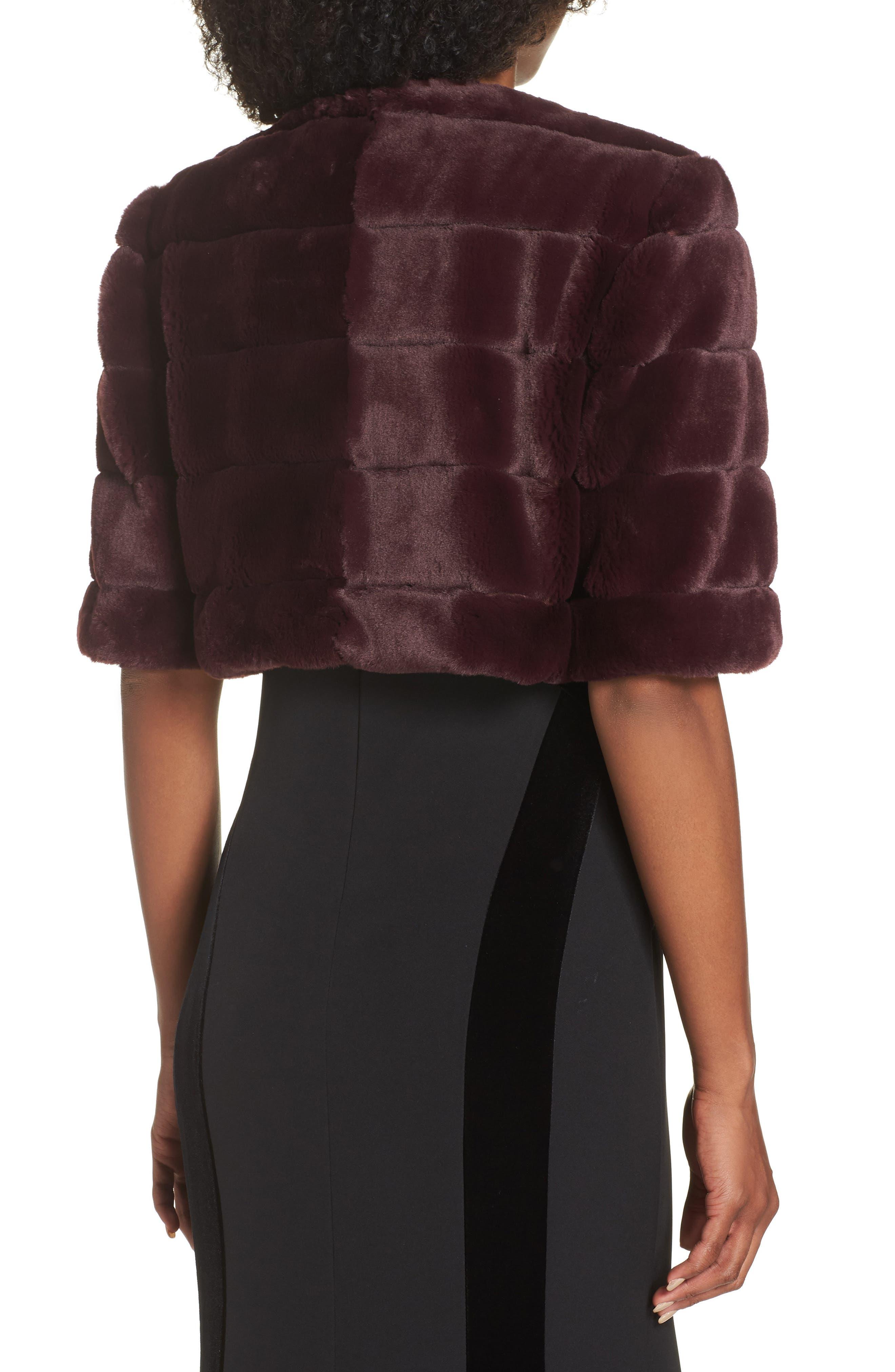 ELIZA J,                             Faux Fur Crop Jacket,                             Alternate thumbnail 2, color,                             WINE