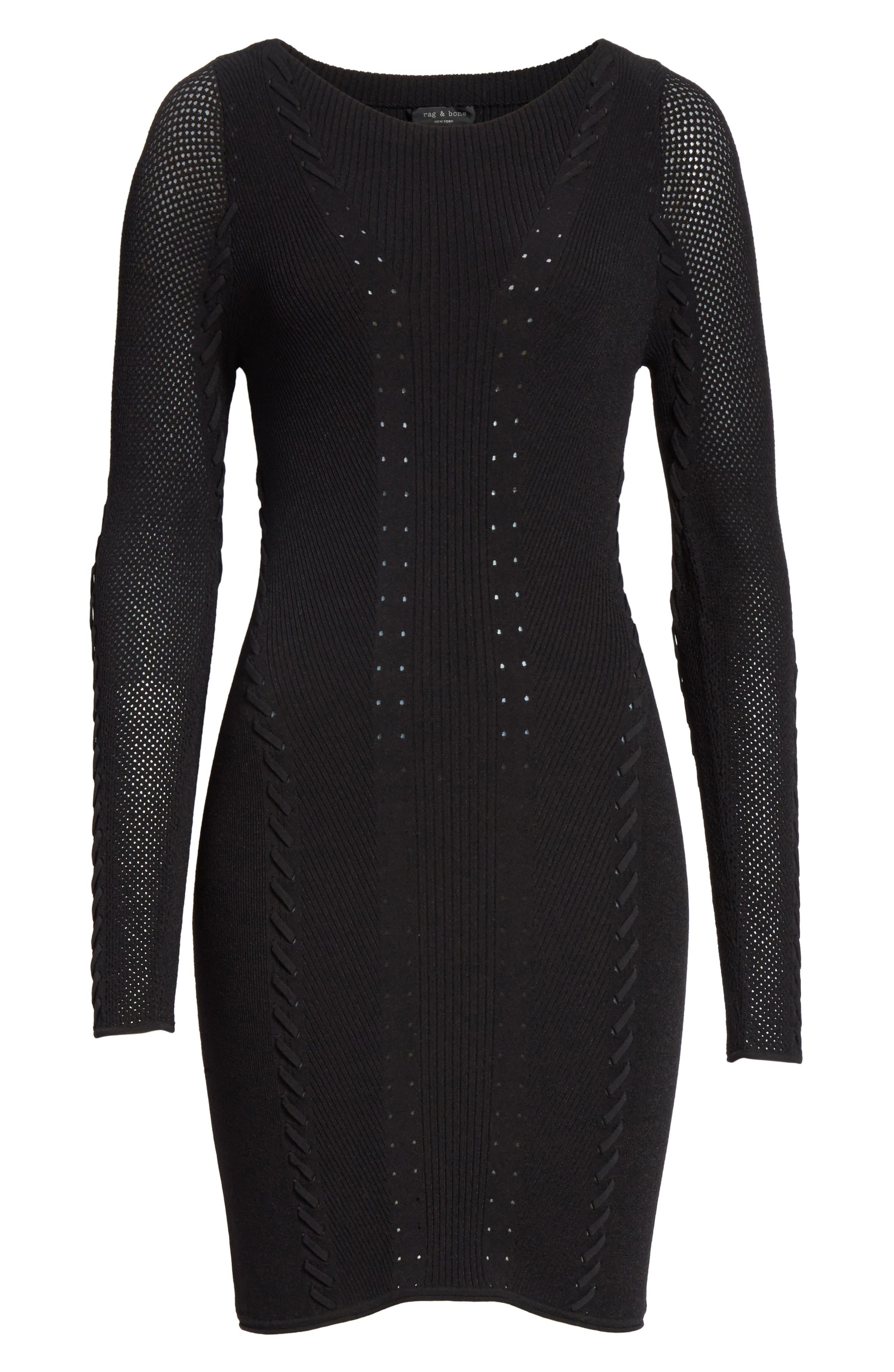 Brandy Whipstitch Dress,                             Alternate thumbnail 6, color,                             001