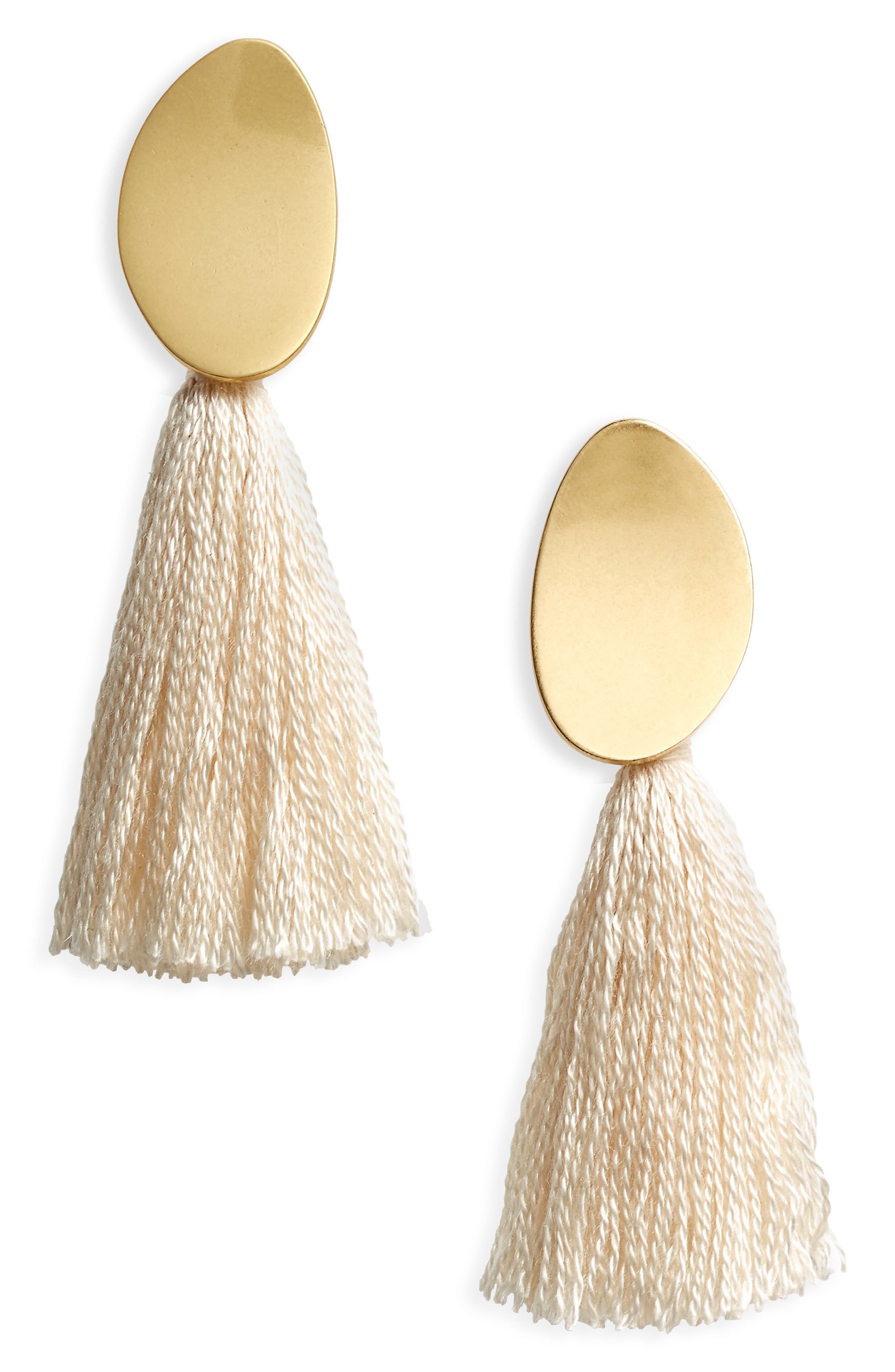 Curved Tassel Earrings,                             Main thumbnail 7, color,