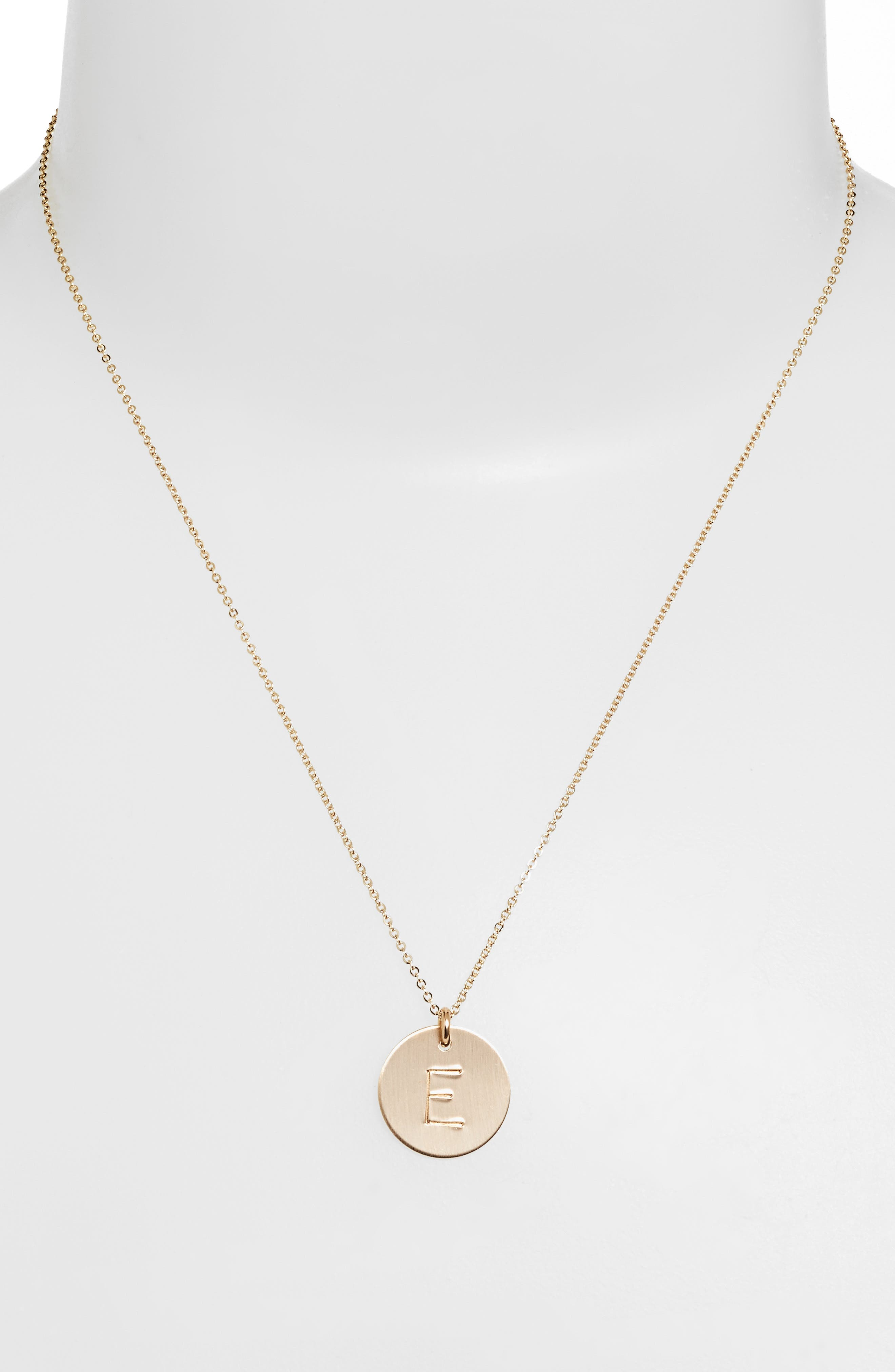 14k-Gold Fill Initial Disc Necklace,                             Alternate thumbnail 2, color,                             14K GOLD FILL E