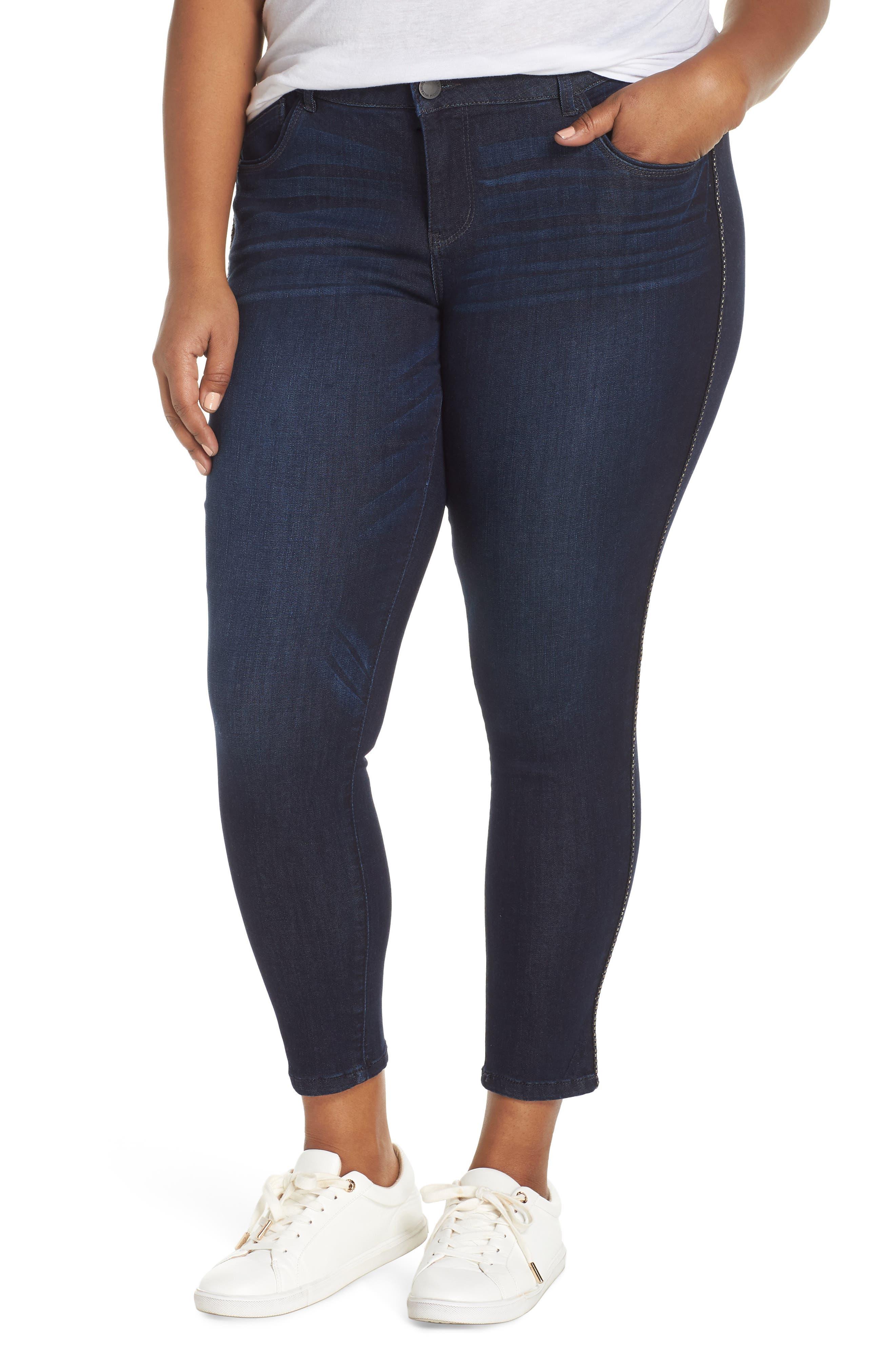 Ab-Solution Side Trim Ankle Jeans,                         Main,                         color, INDIGO