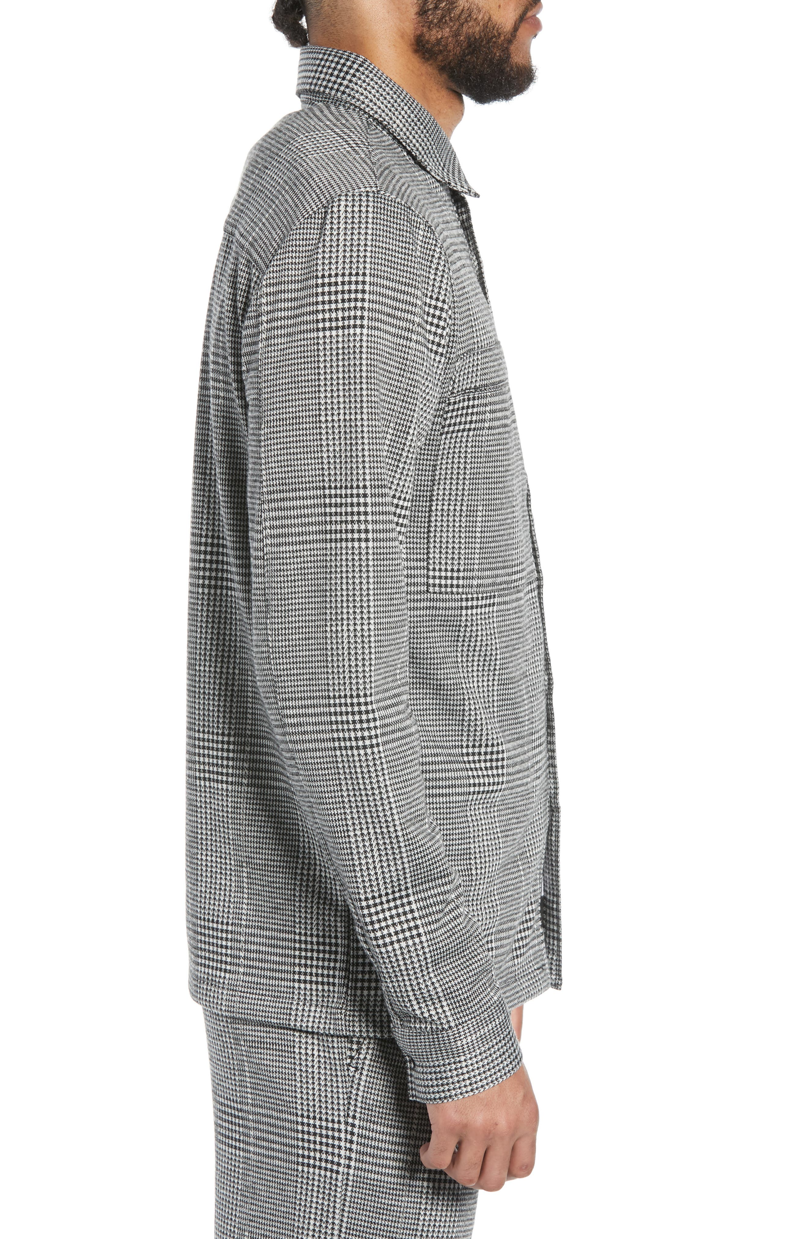 Houndstooth Check Overshirt,                             Alternate thumbnail 3, color,                             BLACK