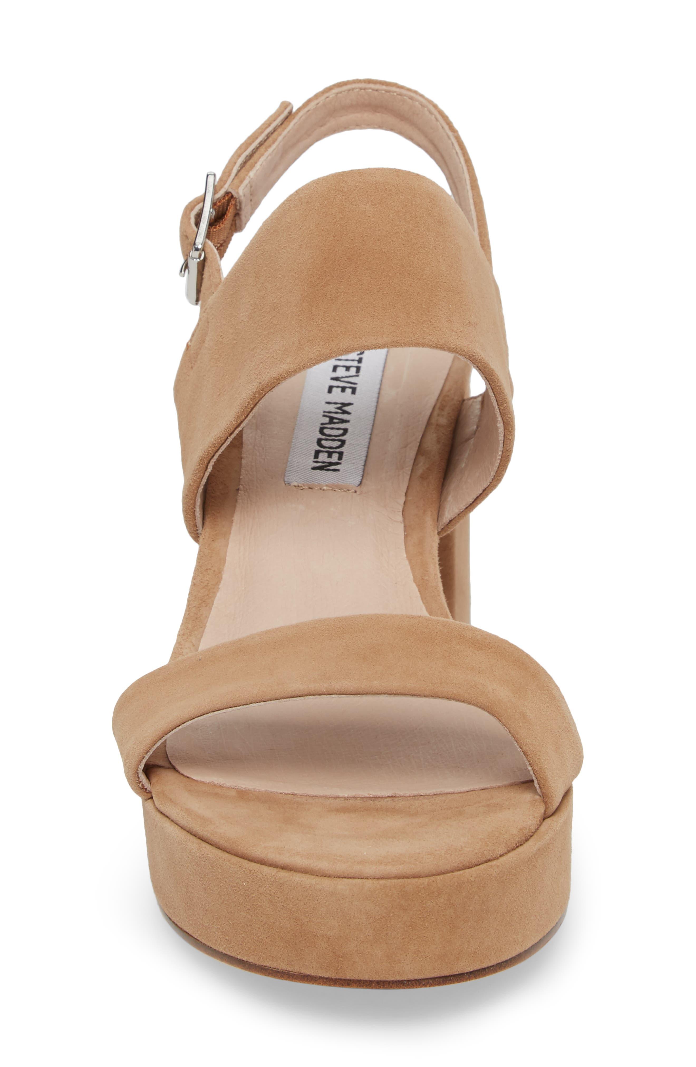 Reba Slingback Platform Sandal,                             Alternate thumbnail 4, color,                             TAN SUEDE