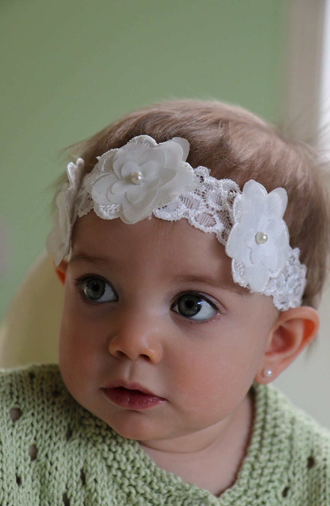 Flower Embellished Lace Head Wrap,                             Alternate thumbnail 2, color,                             120