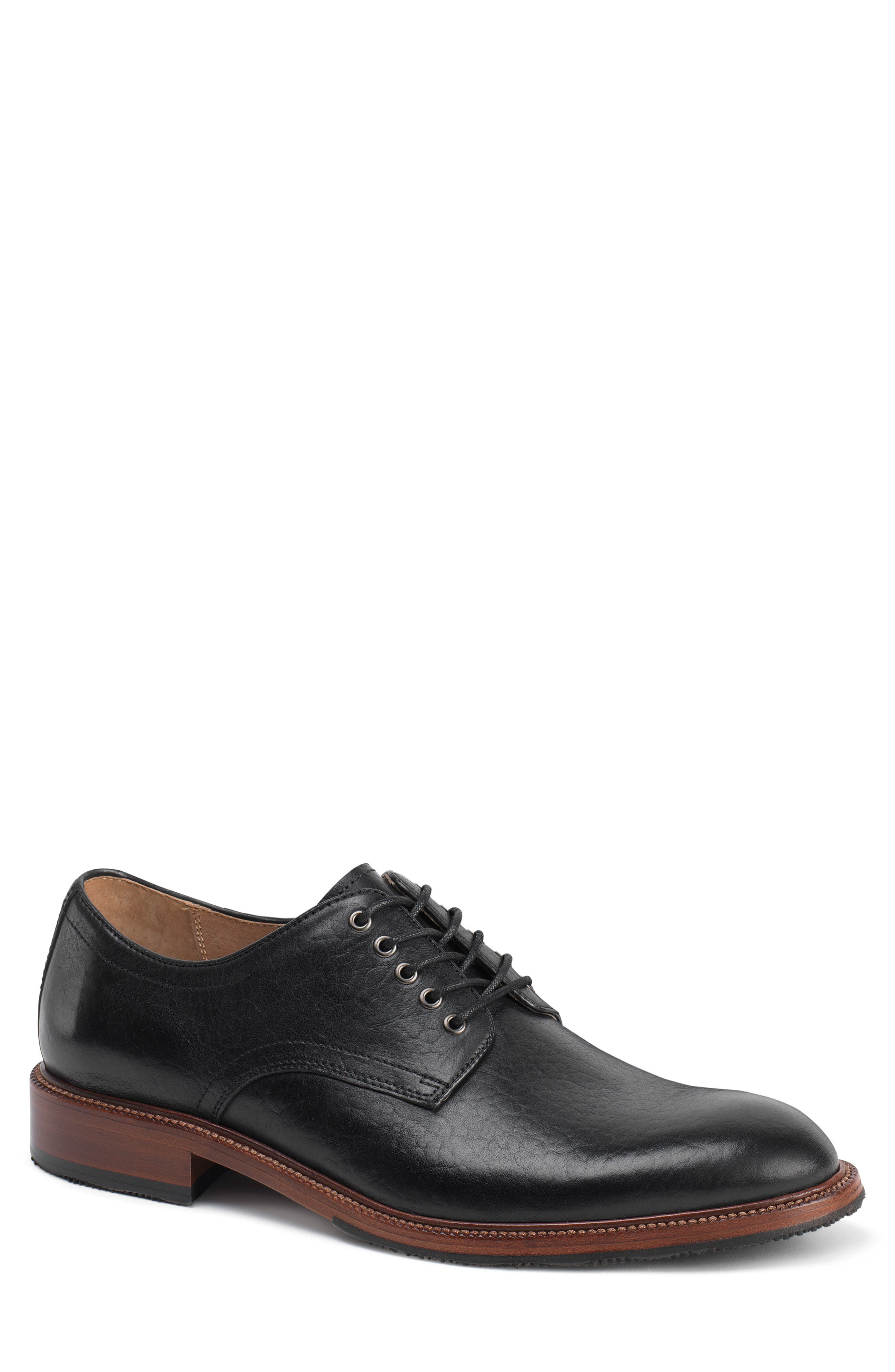 Landry Plain Toe Derby,                             Main thumbnail 1, color,                             BLACK LEATHER