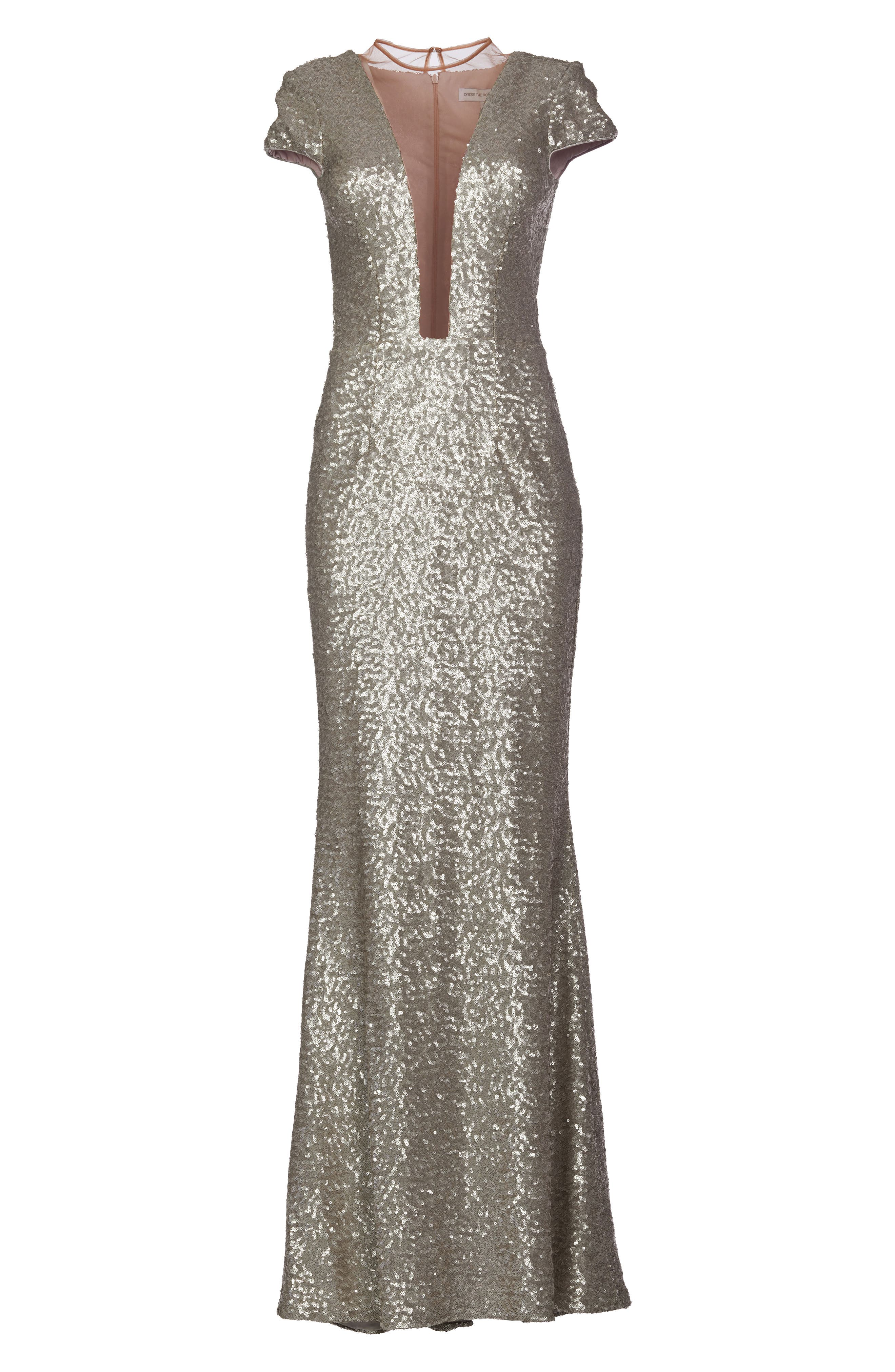 Michelle Sequin Gown,                             Alternate thumbnail 5, color,                             PLATINUM