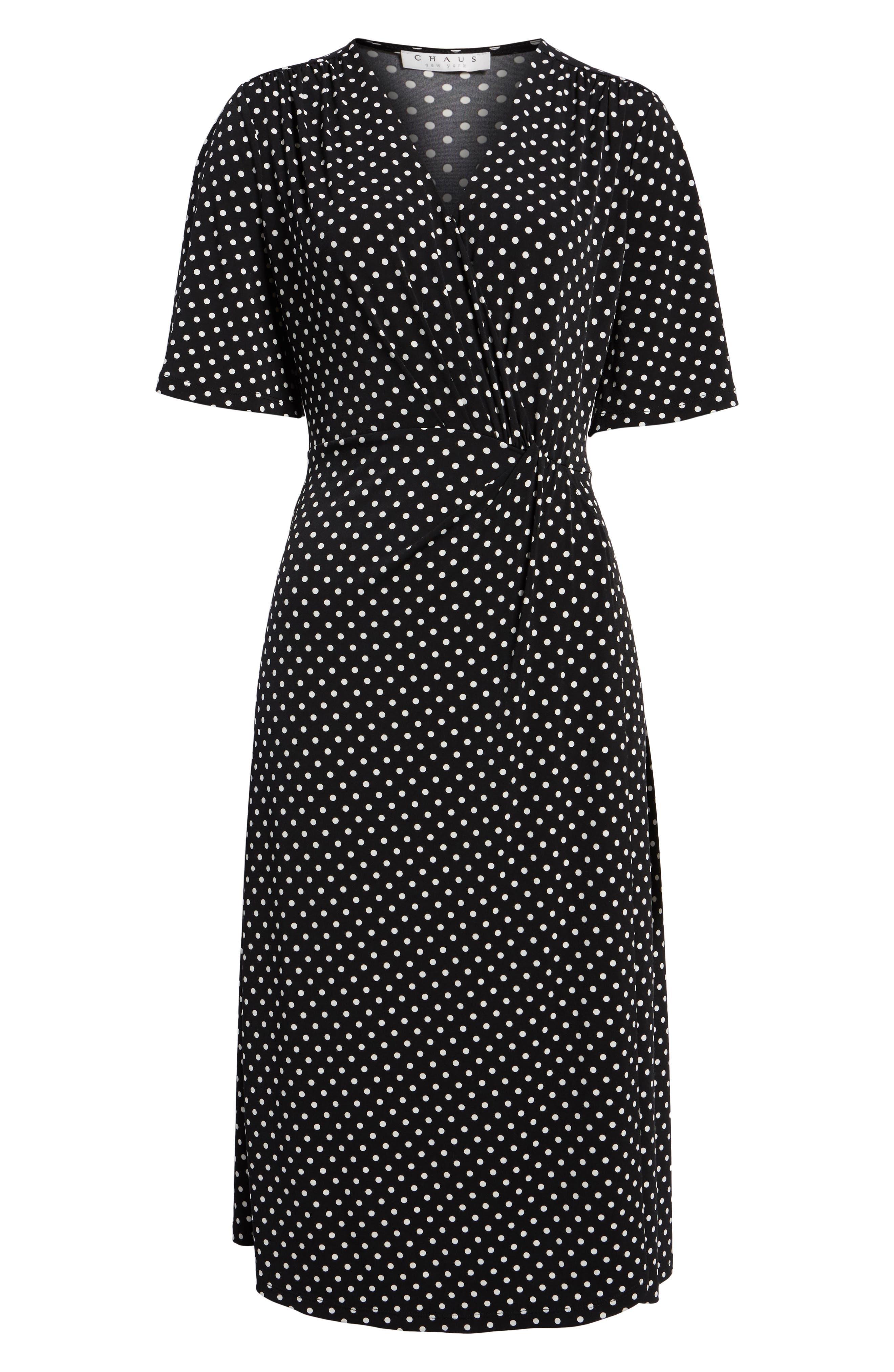 Flutter Sleeve Polka Dot Dress,                             Alternate thumbnail 6, color,