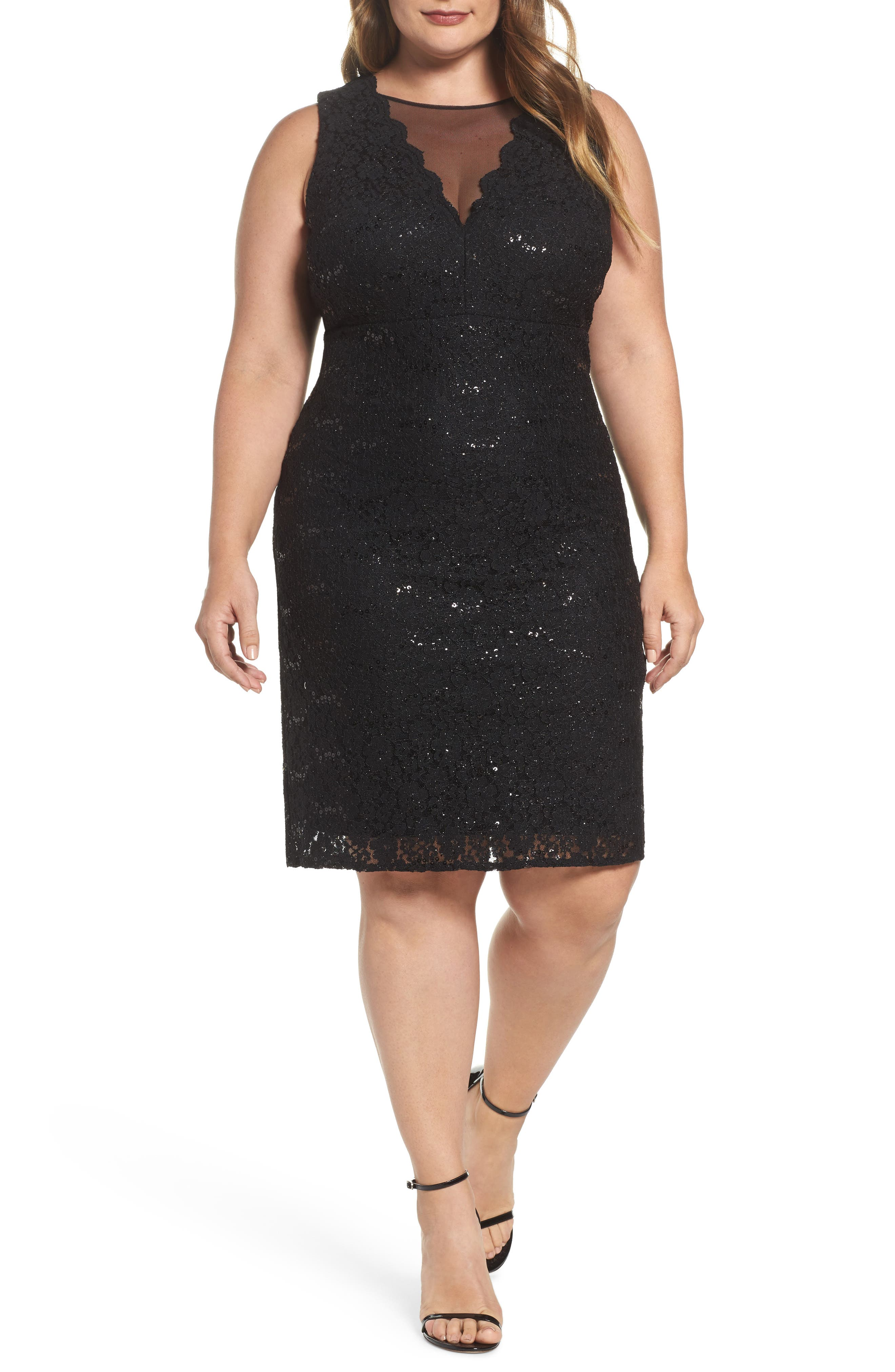 Sequin Lace & Mesh Body-Con Dress,                             Main thumbnail 1, color,                             001