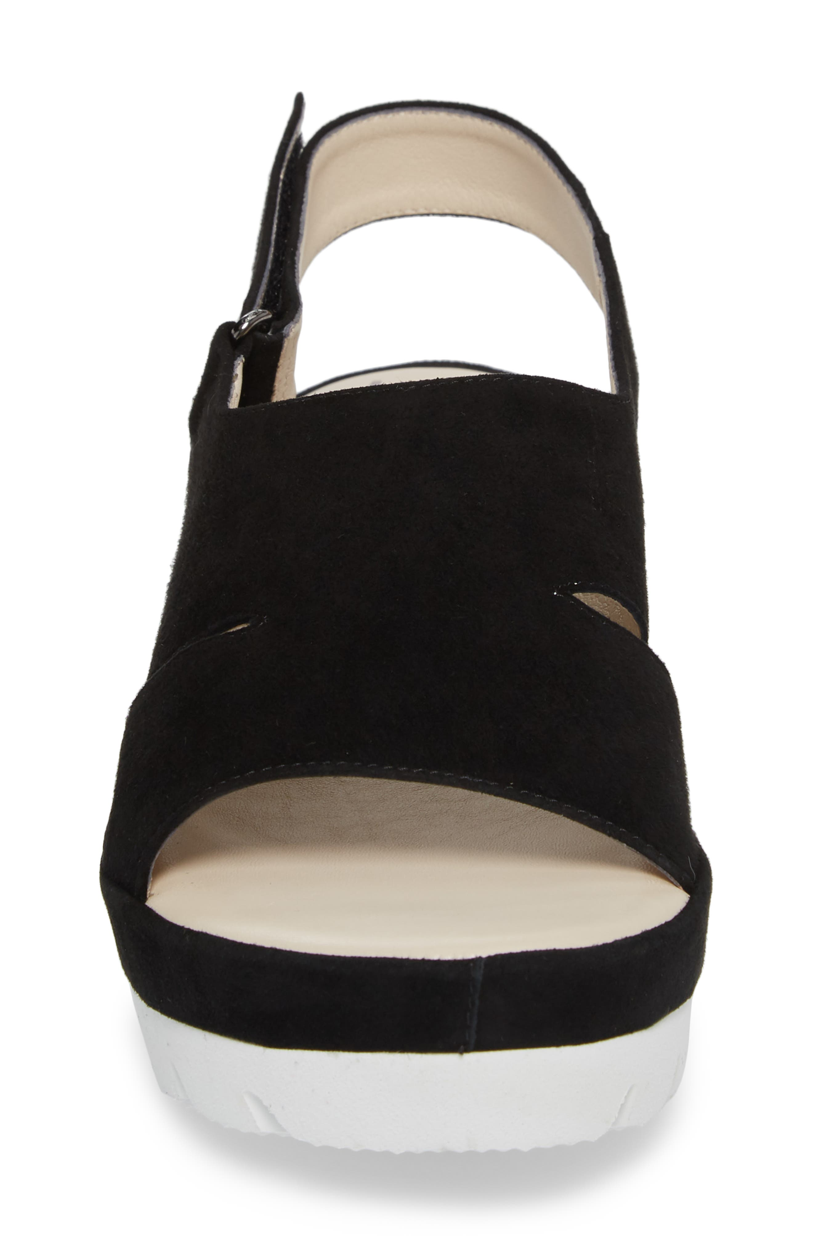 Bergamotto Slingback Wedge Sandal,                             Alternate thumbnail 4, color,                             BLACK SUEDE