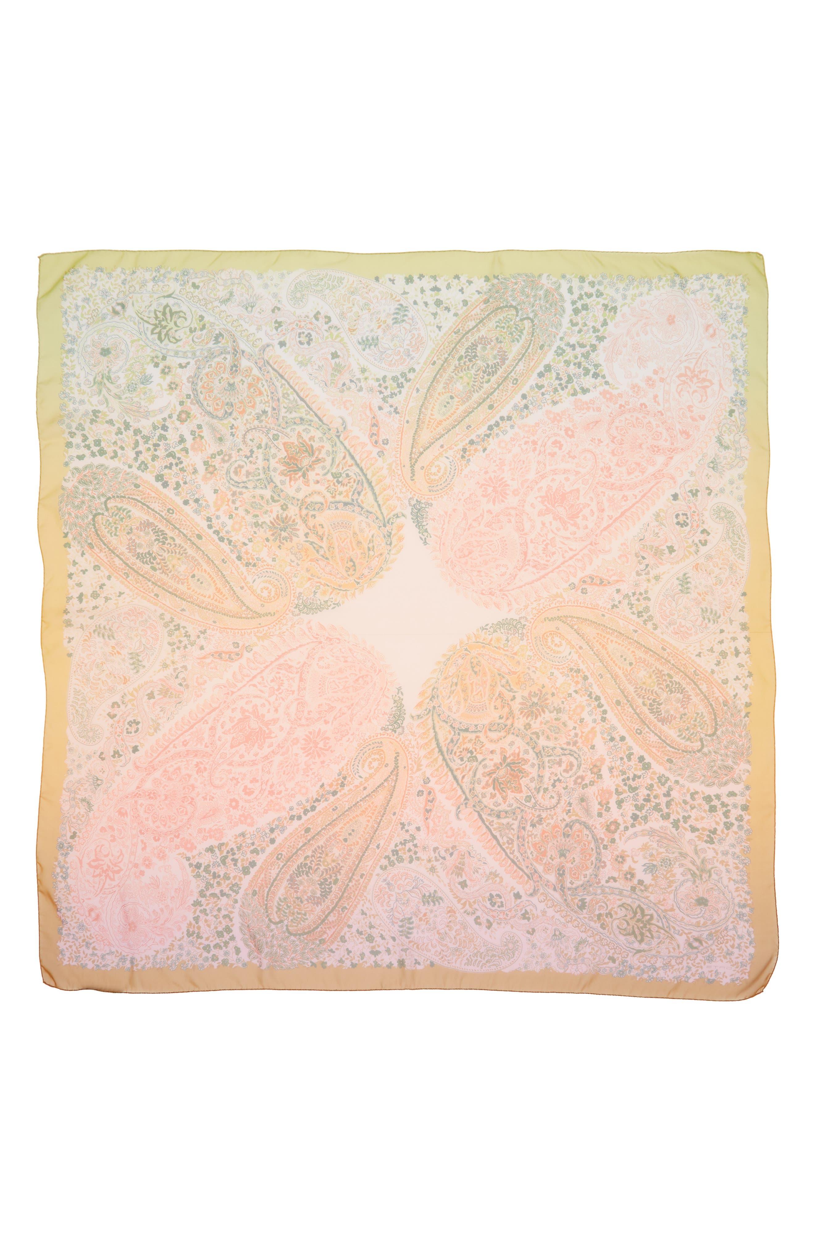 Paisley Silk Scarf,                             Alternate thumbnail 3, color,                             ORANGE