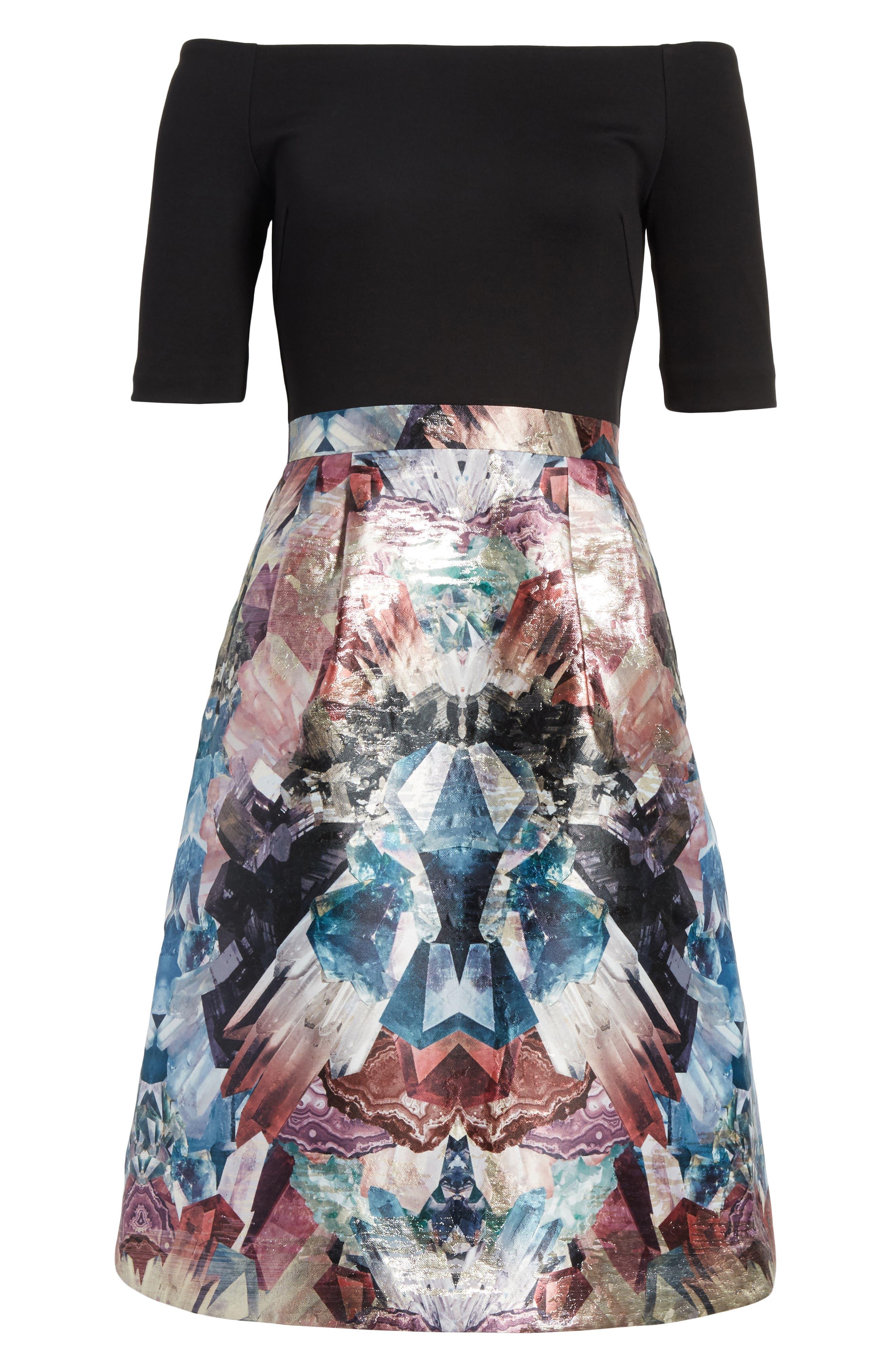 Keris Mirrored Minerals Tulip Fit & Flare Dress,                             Alternate thumbnail 6, color,                             001