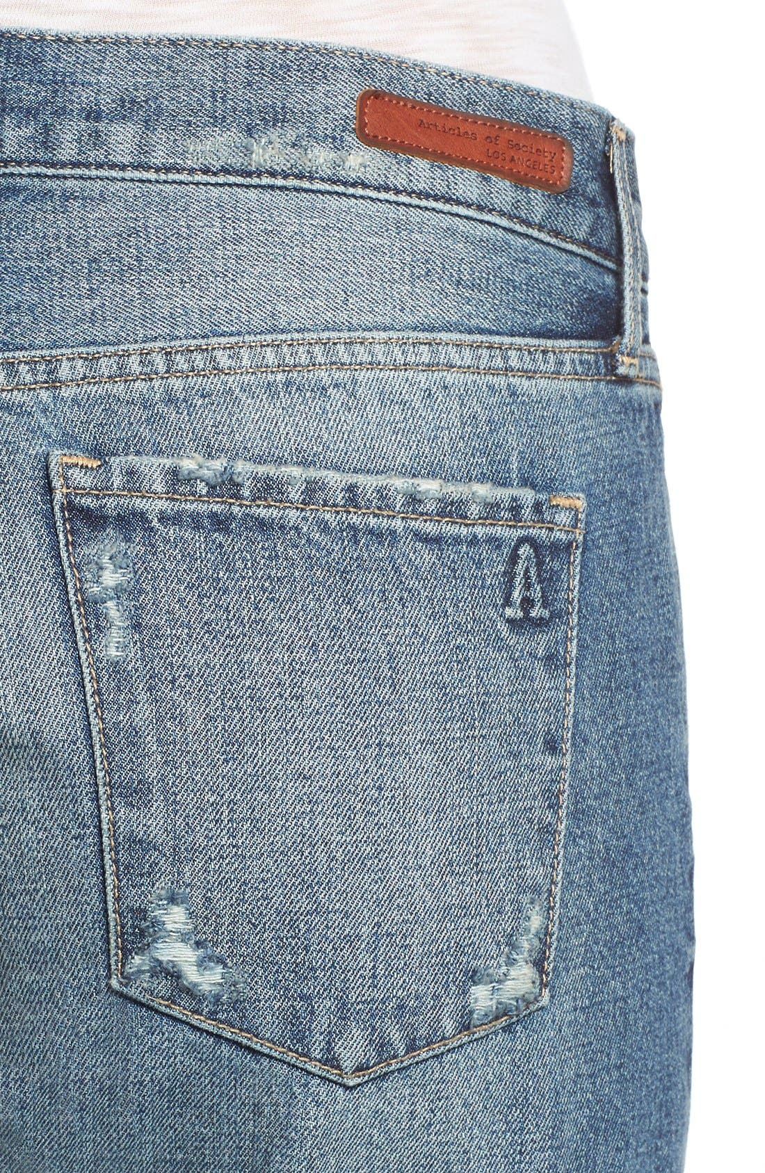 ARTICLES OF SOCIETY,                             'Janis' Destroyed Boyfriend Jeans,                             Alternate thumbnail 3, color,                             408