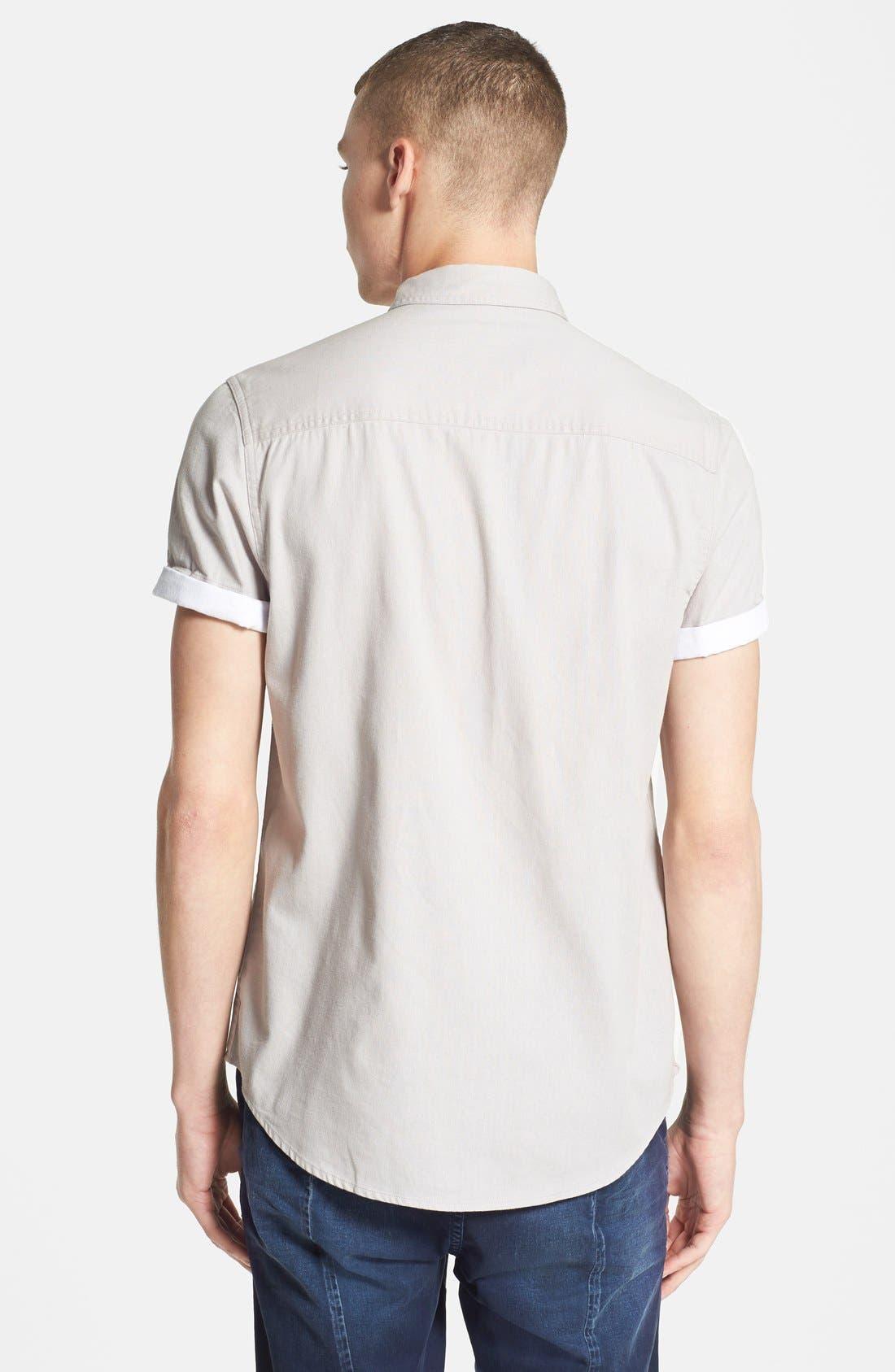 TOPMAN,                             Contrast Trim Short Sleeve Cotton Shirt,                             Alternate thumbnail 4, color,                             020