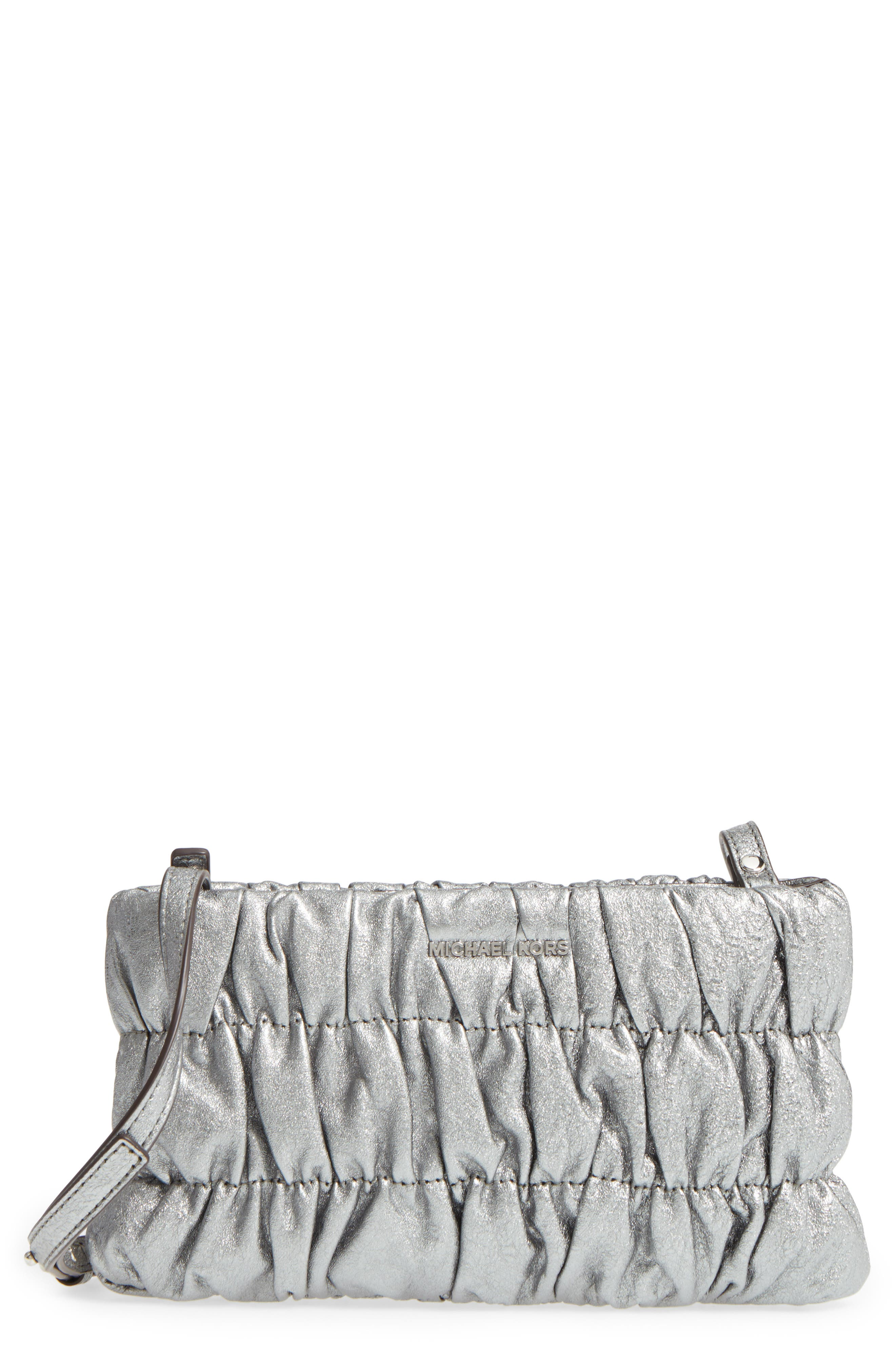 MICHAEL Michael Kors Webster Metallic Leather Clutch,                         Main,                         color,