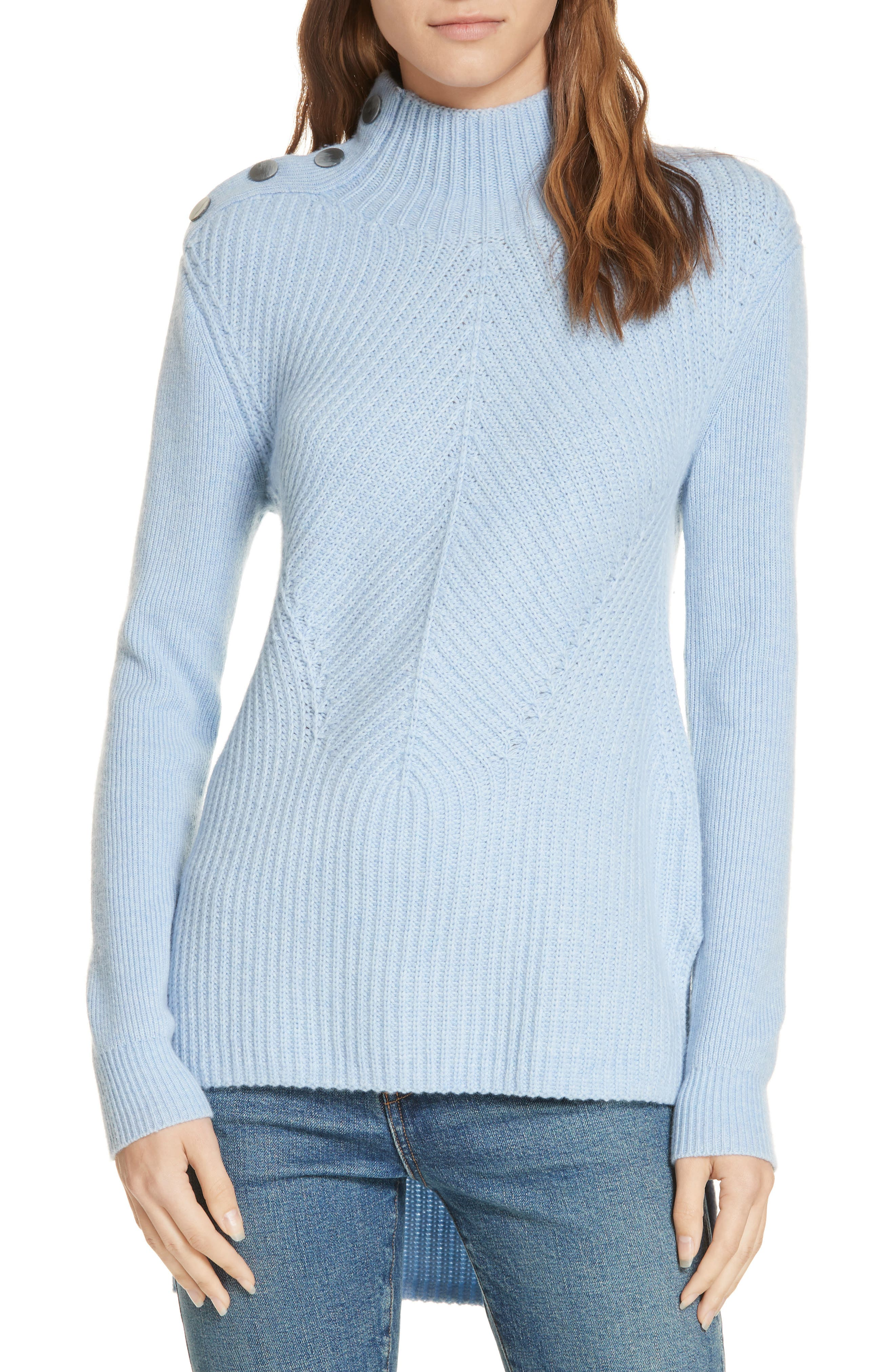 Veronica Beard Rama Merino Wool & Cashmere High/low Sweater, Blue