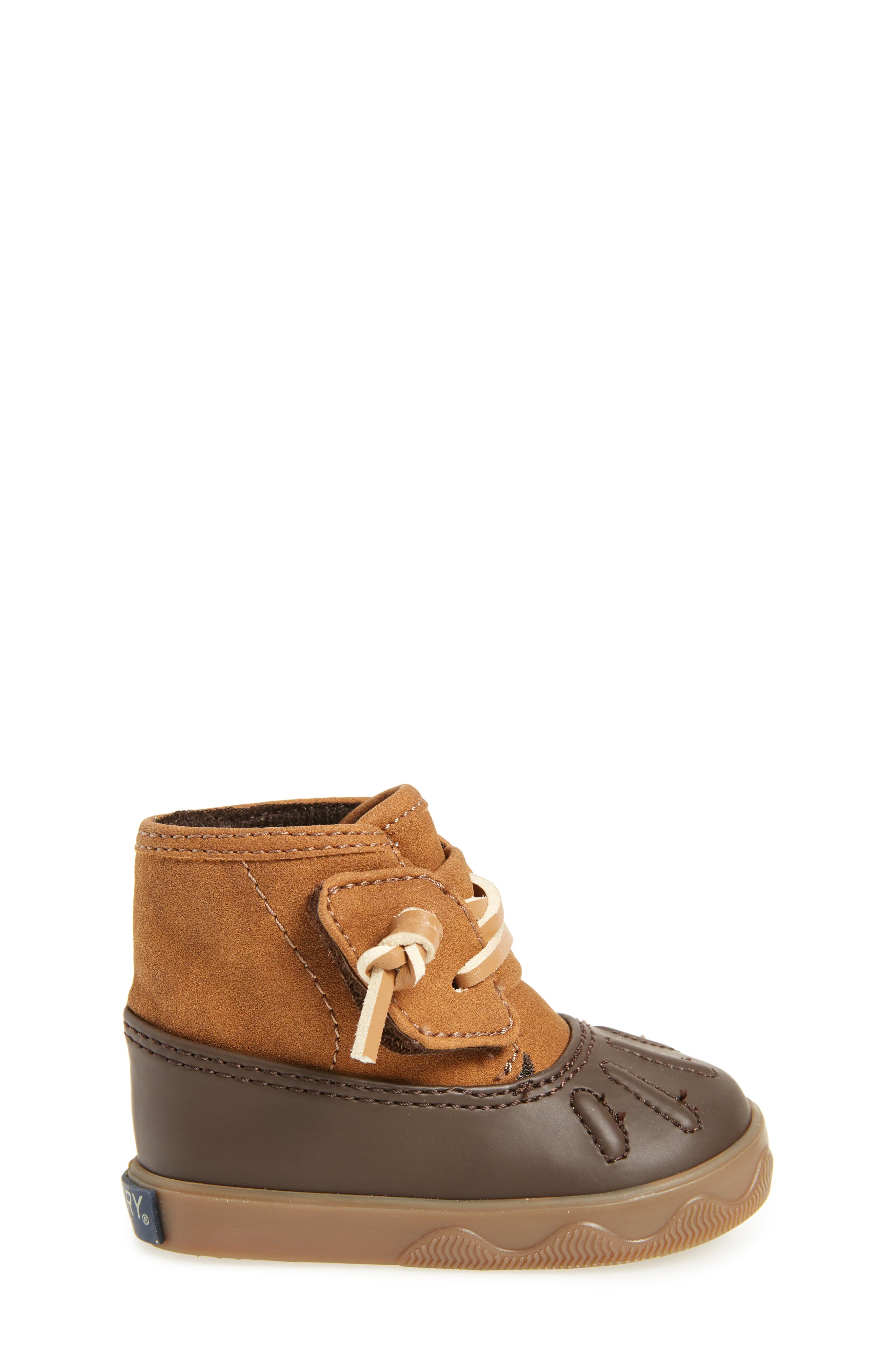Sperry Icestorm Crib Duck Bootie,                             Alternate thumbnail 3, color,                             TAN/ BROWN
