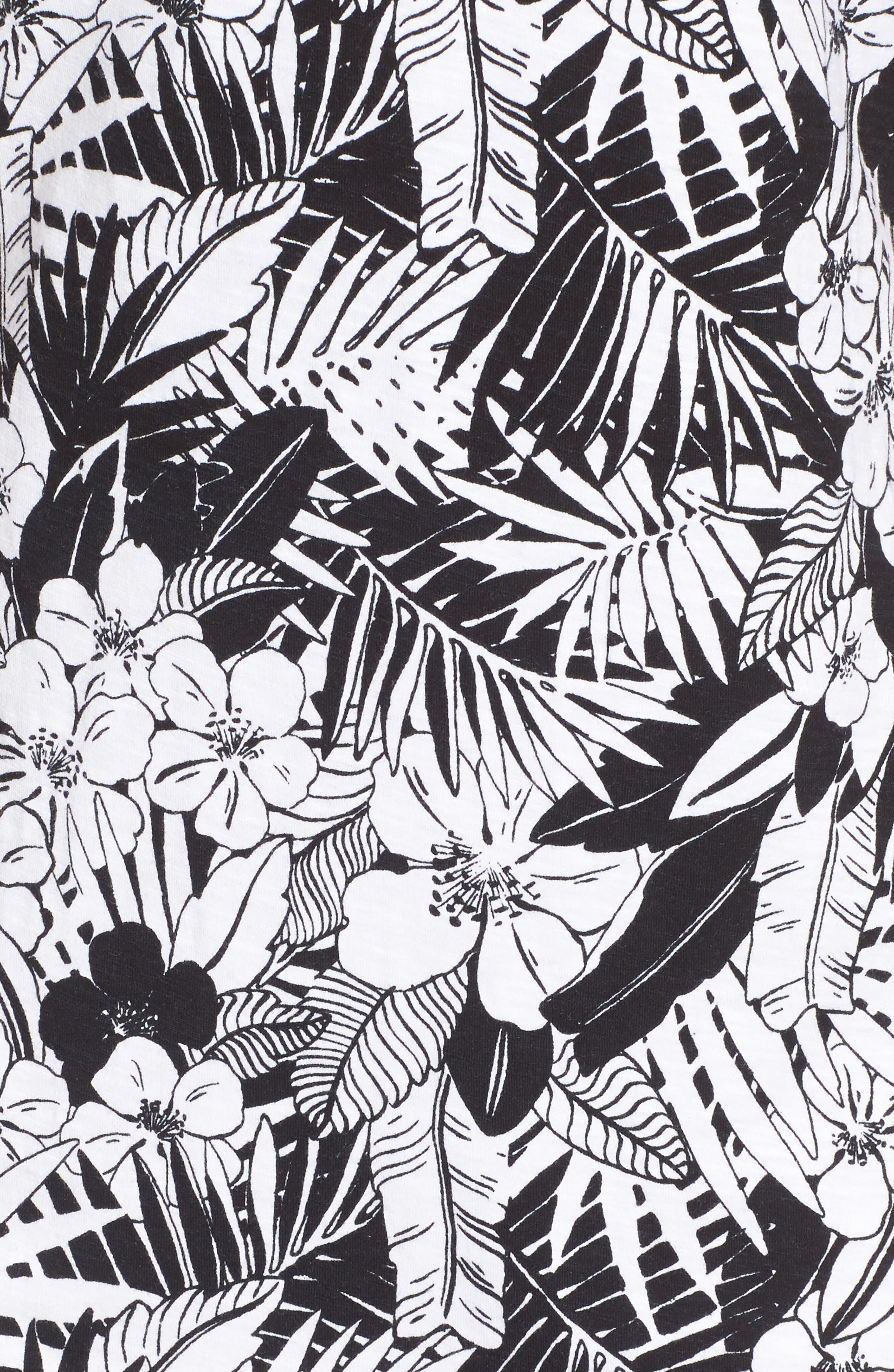 Palm Noir Sleeveless Tunic Dress,                             Alternate thumbnail 5, color,                             BLACK