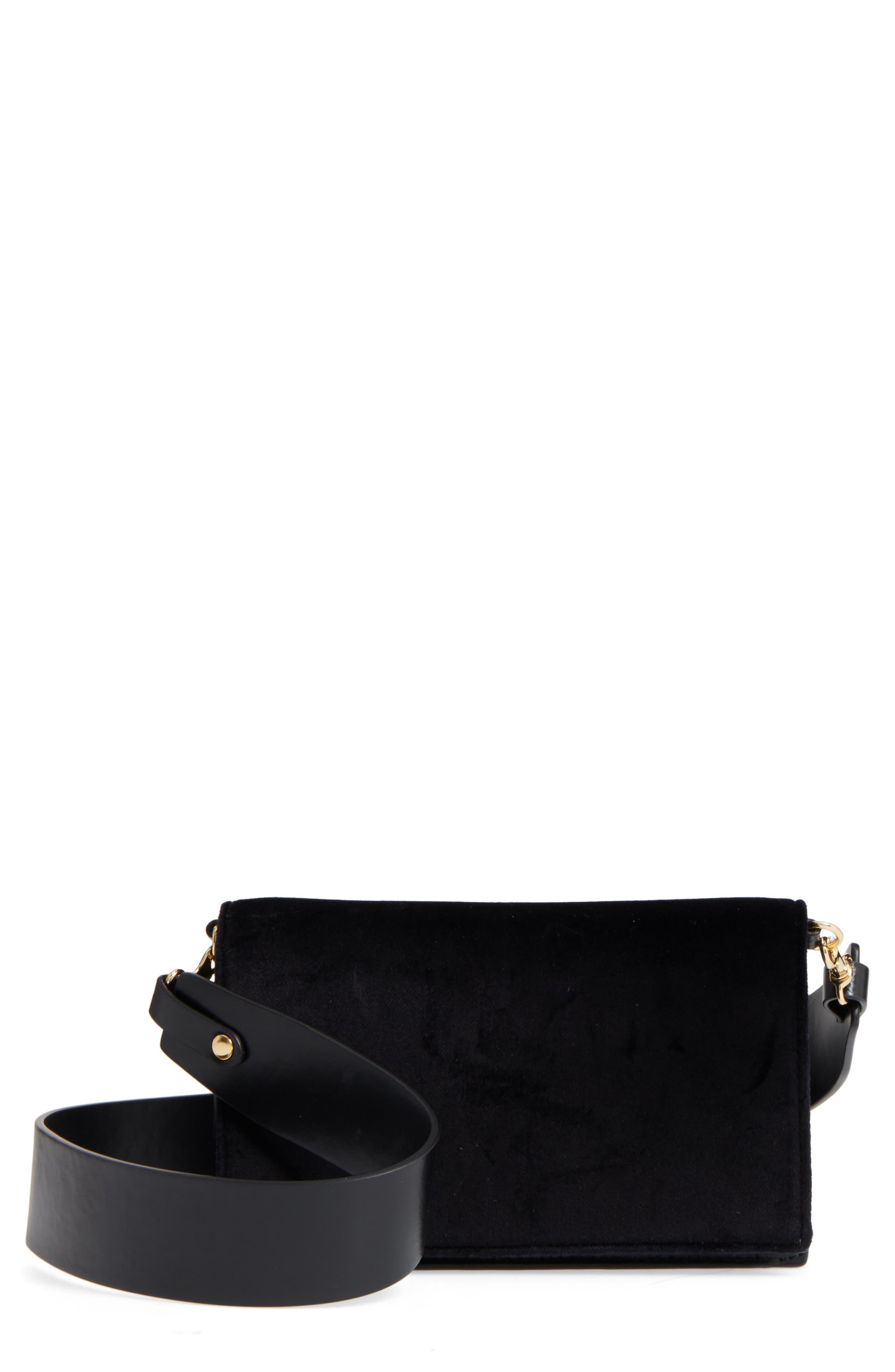 Soirée Velvet Convertible Crossbody Bag,                         Main,                         color, 001