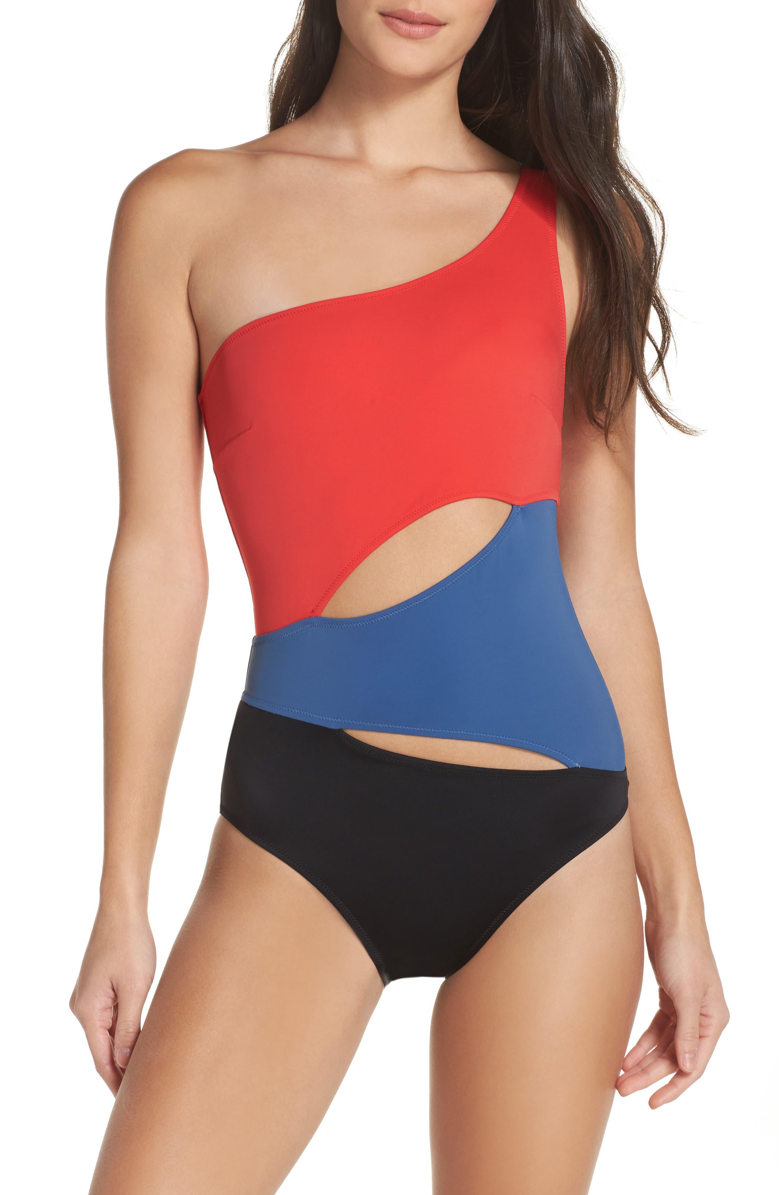 One-Shoulder One-Piece Swimsuit,                             Main thumbnail 2, color,