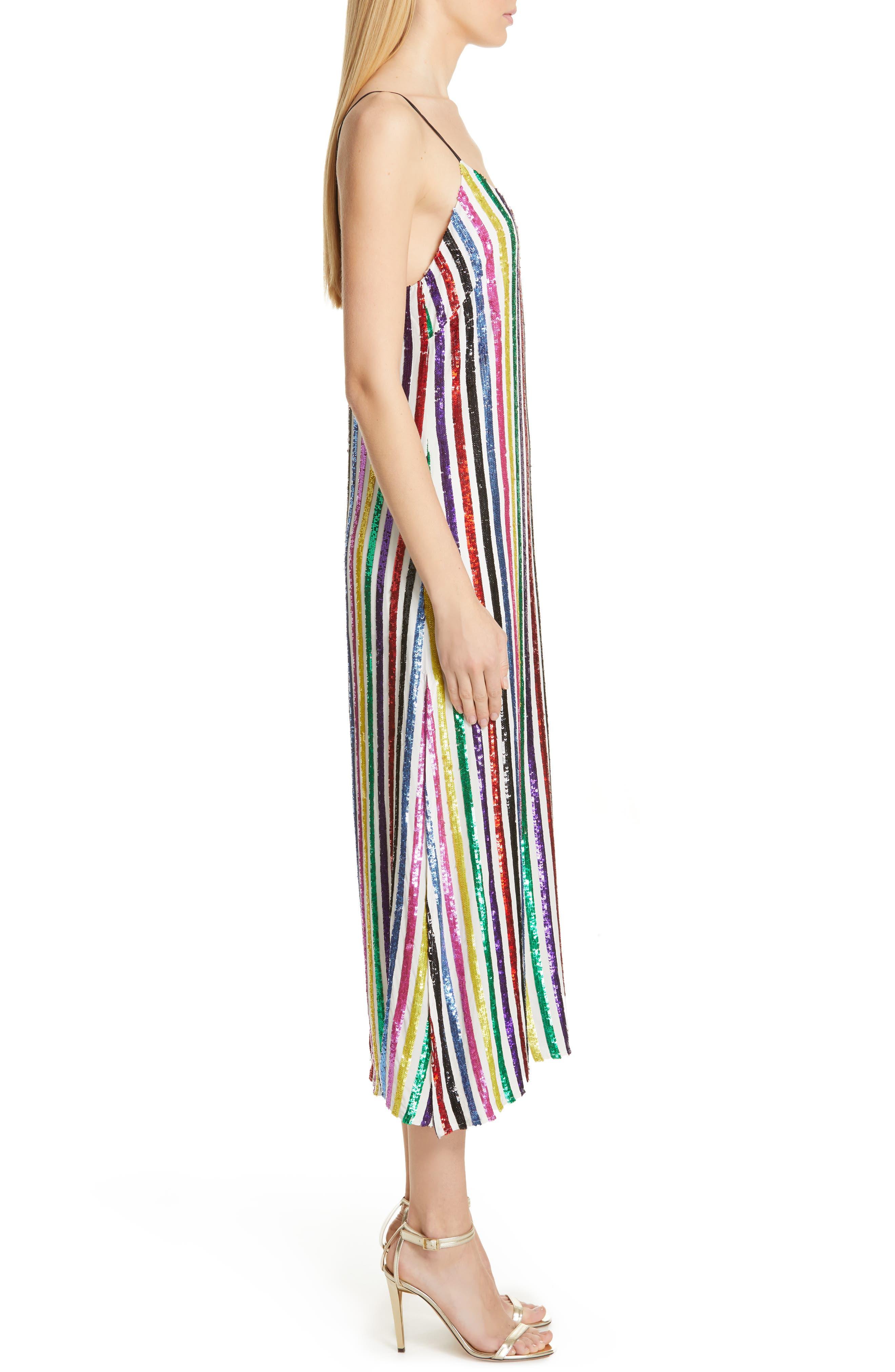 CAROLINE CONSTAS,                             Sequin Stripe Midi Slipdress,                             Alternate thumbnail 4, color,                             WHITE MULTI