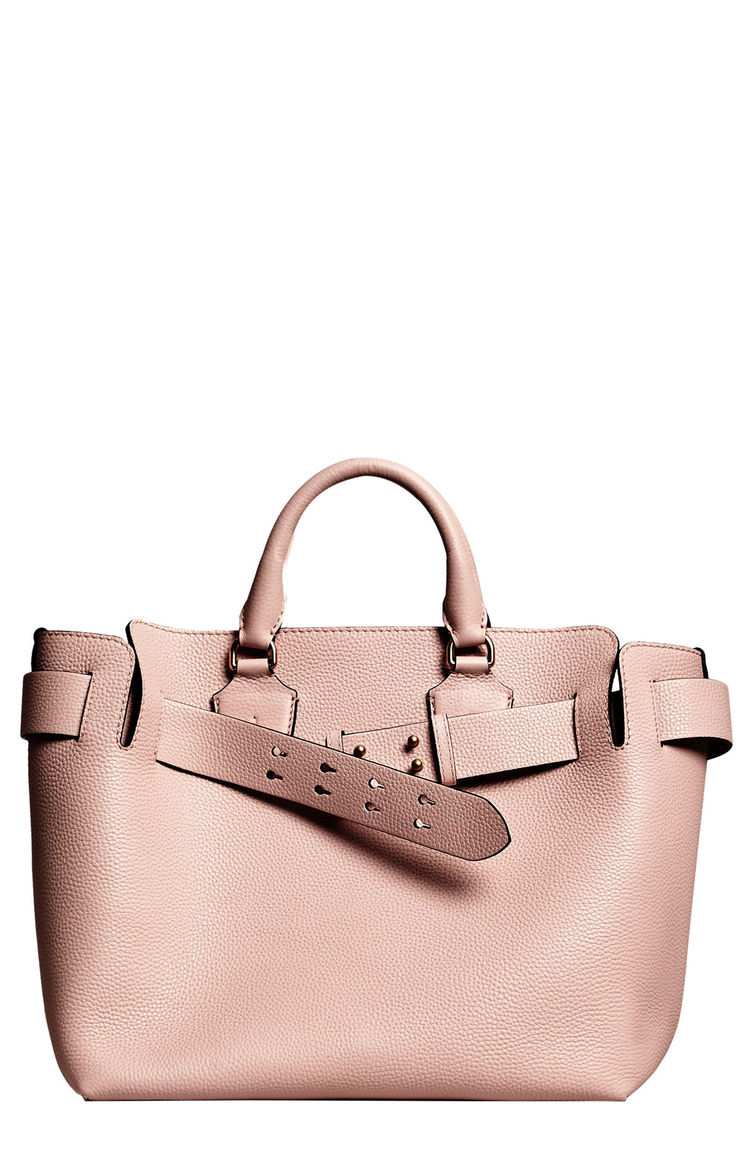 Medium Belt Bag Leather Tote,                             Main thumbnail 1, color,                             PALE ASH ROSE